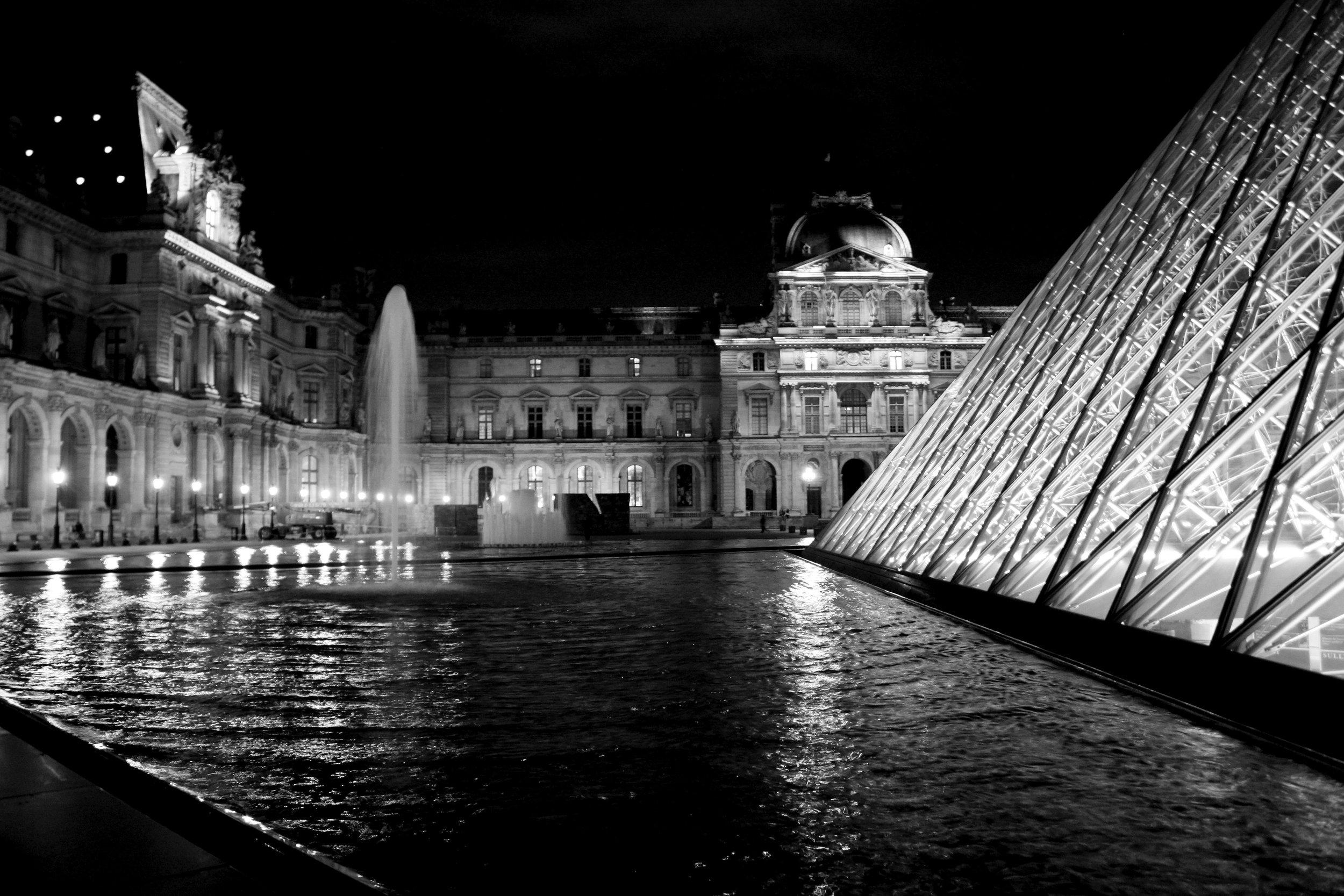The Louvre, illuminated at night