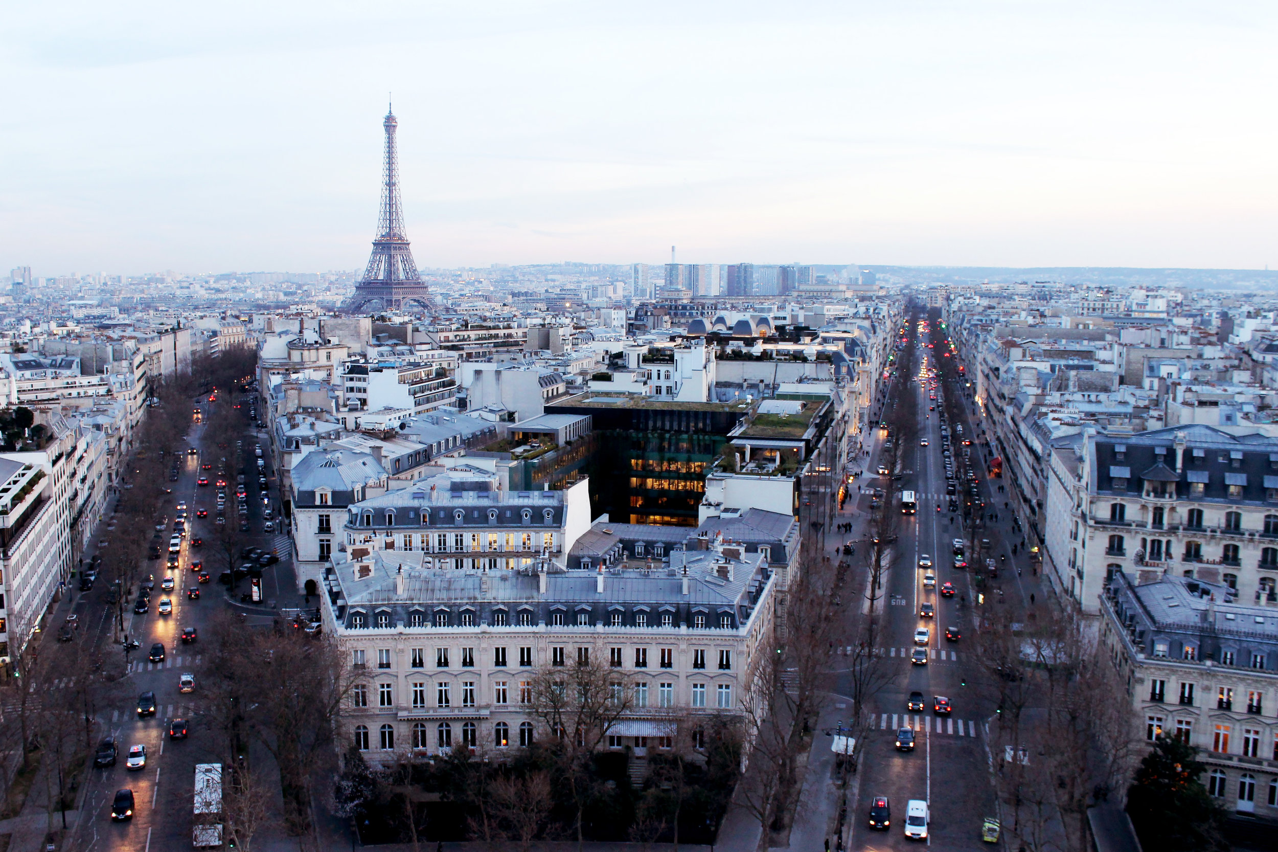 Sunset on top of the Champ Elysees