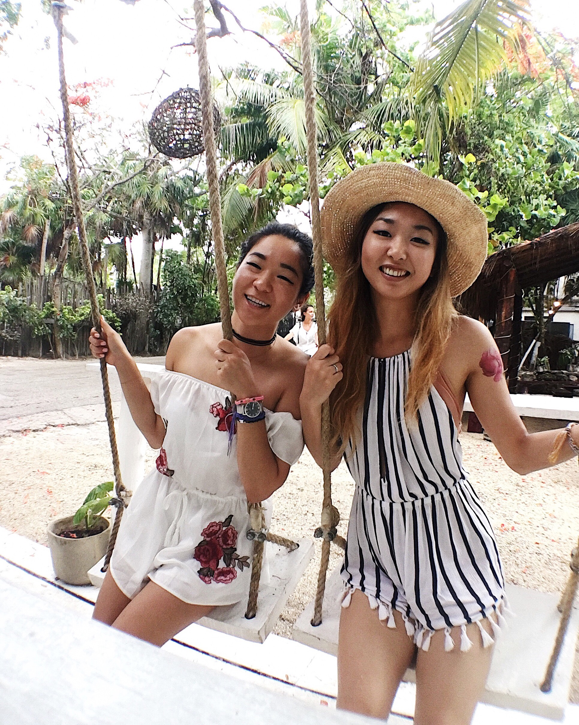 White satin romper (  Forever21  ), white striped romper (Abercrombie and Fitch, no longer available, similar   here  ,  here   and   here  )