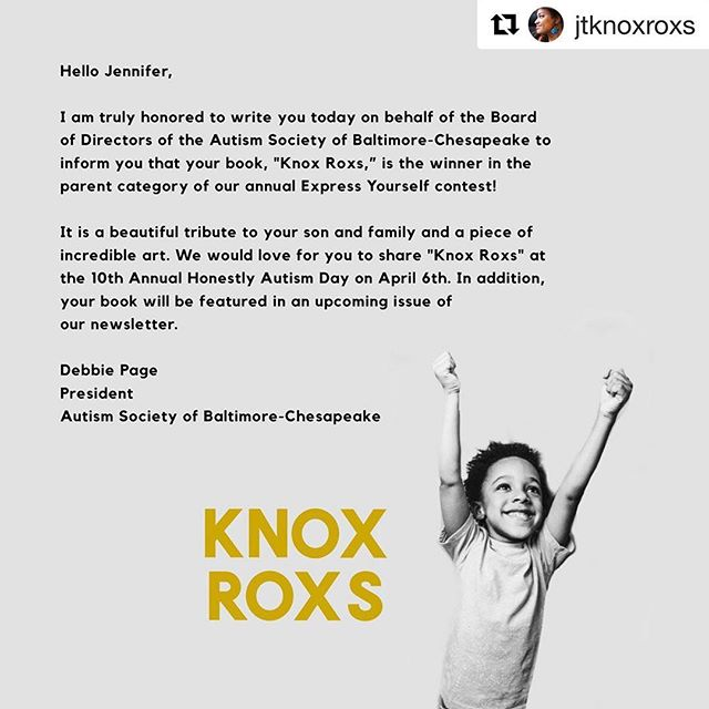 ⚡️ April is Autism Acceptance month ⚡️KNOX ROXS is being honored in a massive way this weekend... The president of the Autism Society for the Baltimore / Chesapeake region has chosen KNOX ROXS as the winner for the anual, 'Express Yourself' category. 📣This is a s very big deal, so so exciting! 🏆So many endless congrats to our homies of the year, Jenn + Knox, and also to Kevin!!! 🙇🏻‍♀️ In the past year we have had the opportunity to work closely in collaboration with the Johnson family on KNOX ROXS 💛 it has been a total whirlwind + so much fun! 😭We are incredibly proud of them and their project! It is so exciting to see this v special children's book take center stage on so many different platforms. 👏🏽 This book came out on Knox birthday, Oct 11, so it's only been 6 months.. it really is just the beginning 💛 We are committed to continue to pursue work that is at the intersection of neurodiversity + art! 🐥 We are sold out of Knox Roxs in the USA, but you can still order some from Jenn @jtknoxroxs while they last! 💝 I hope you will join us in celebrating their #autismacceptancemonth campaign by sharing their story and buying a print of their newest piece: Soul Of Neurodiversity 🖤 #Repost @jtknoxroxs ・・・ Whew! Happy 1st Day of April to all of our supporters and Nuerodivergent families!  So blessed to receive this message from the Autism Society of Baltimore about KnoxRoxs! Our zine will be honored this weekend at The Honestly Autism Day Conference! Just in time for Autism Acceptance Month too! Great way to kick off April! #knoxroxs #knoxroxsthezine #autismacceptance #autismacceptancemonth #soulofneurodiversity #autisticpride #autisticblackpride