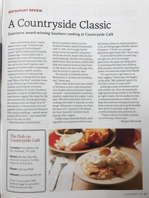 Countryside Cafe was featured in the Farm Bureau of Tennessee Magazine!
