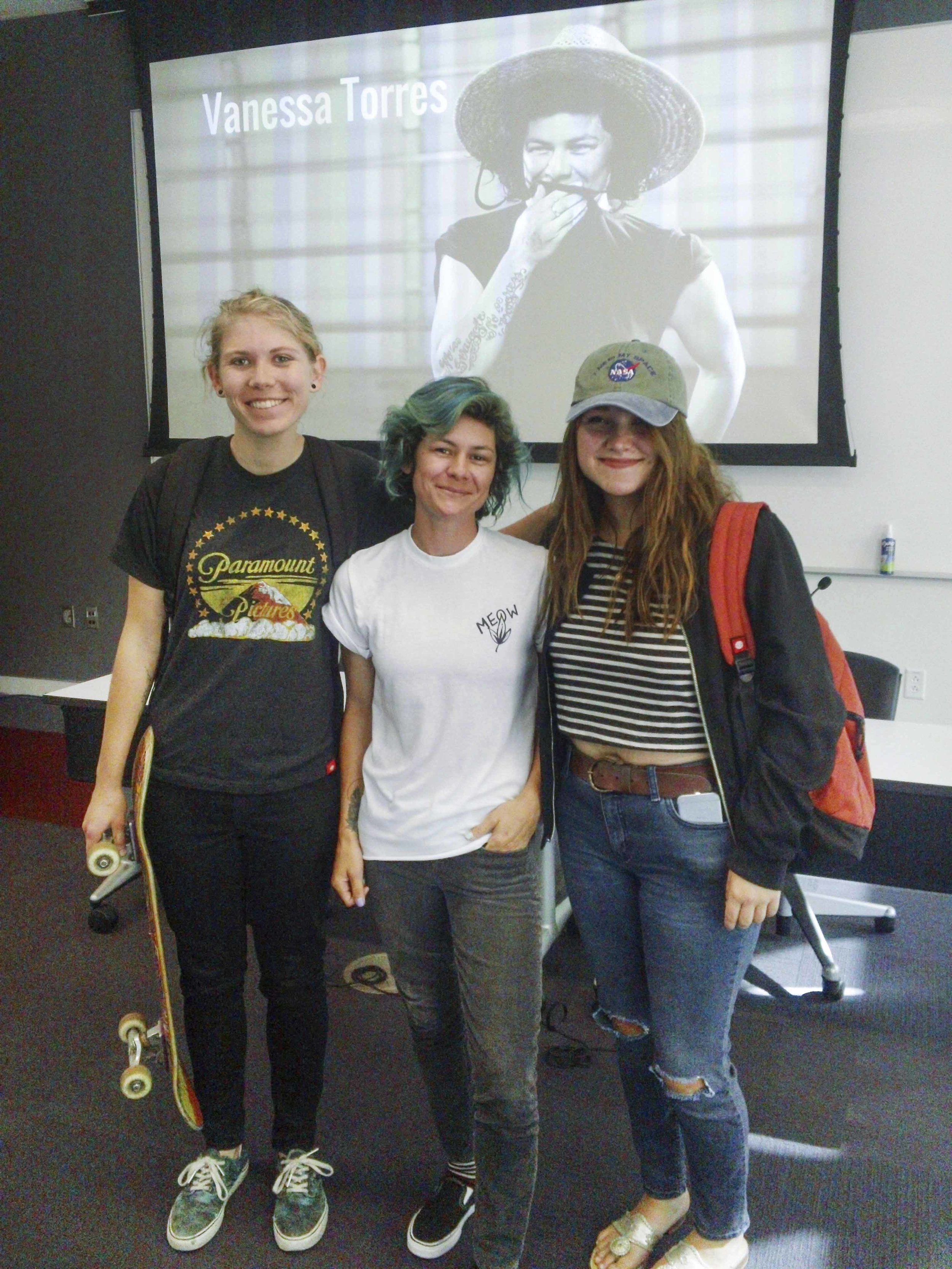 Vanessa Torres with USC's ASCJ 420 Skateboarding and Action-Sports Student Hannah Bowers and Chairman of the Board and alum, Megan Webster.