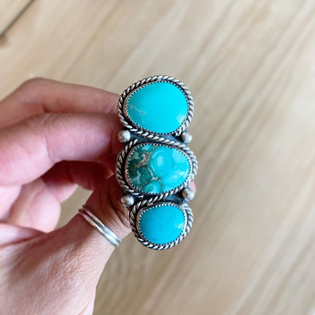For sale!!! This pretty three stone turquoise / sterling silver ring is available for $185 shipped in the us! Comment below to claim and include your email address so I can send an invoice.
