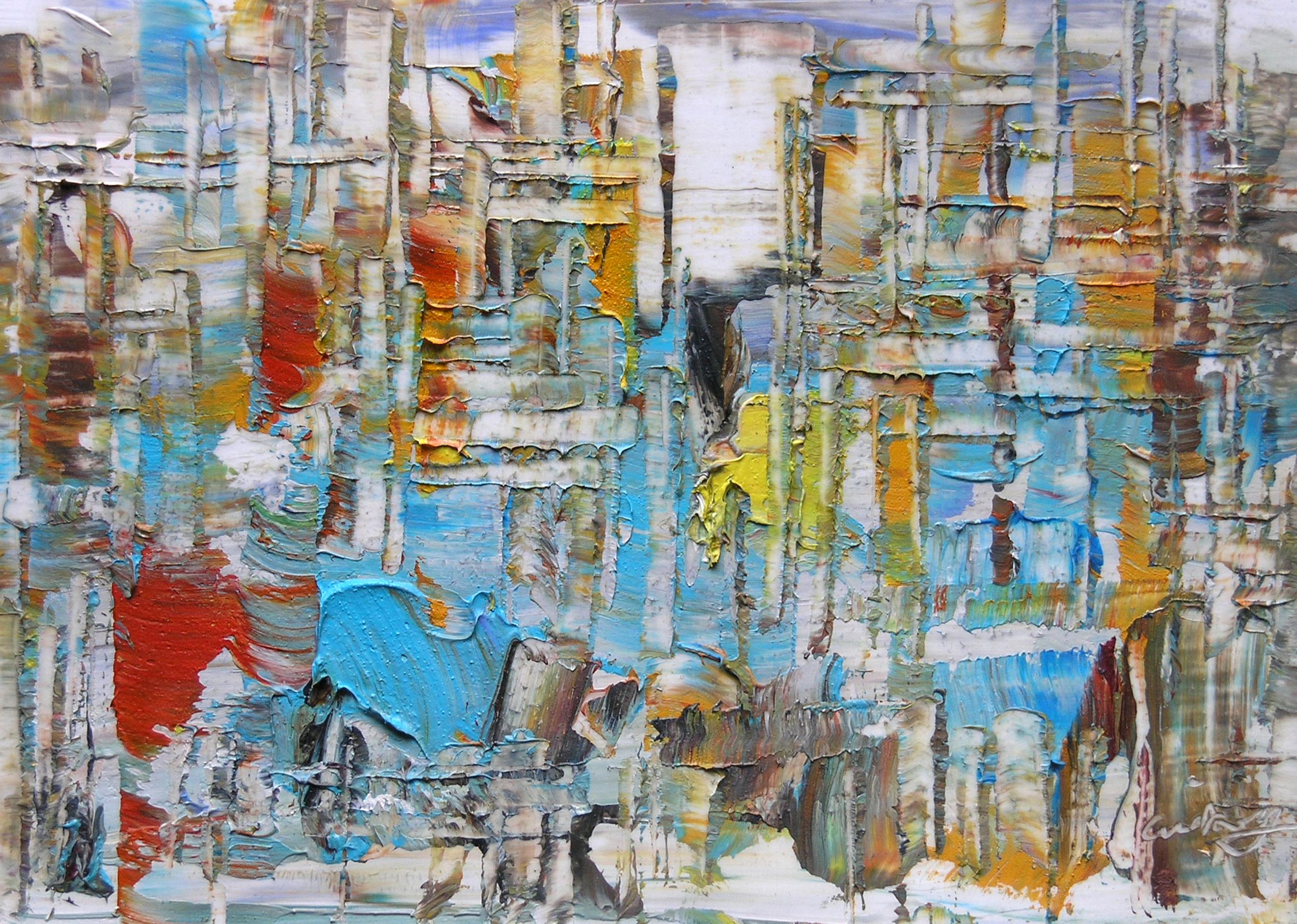 "Wei Kang  Metropolitan Mystiques O18 , 2010  Oil on canvas  4""x 6"""