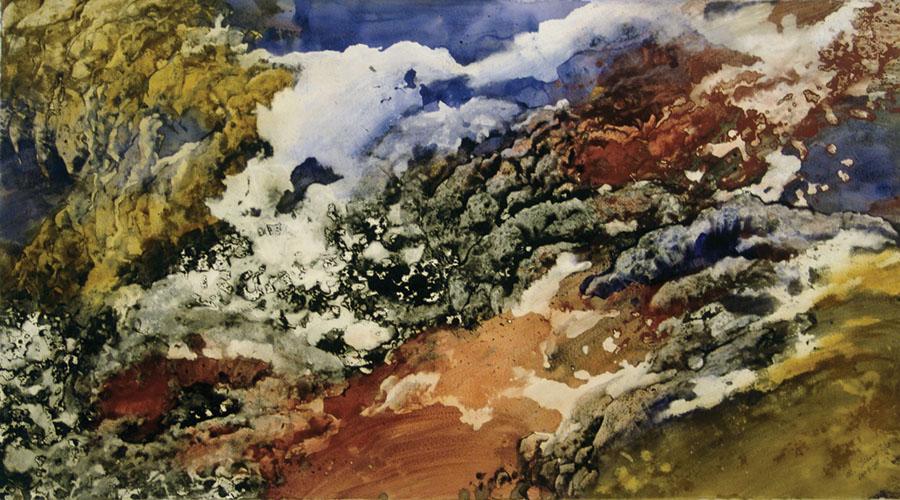 "Marlene Tseng Yu  Rolling Red Rock, 2006  Acrylic on paper  38"" x 68"""