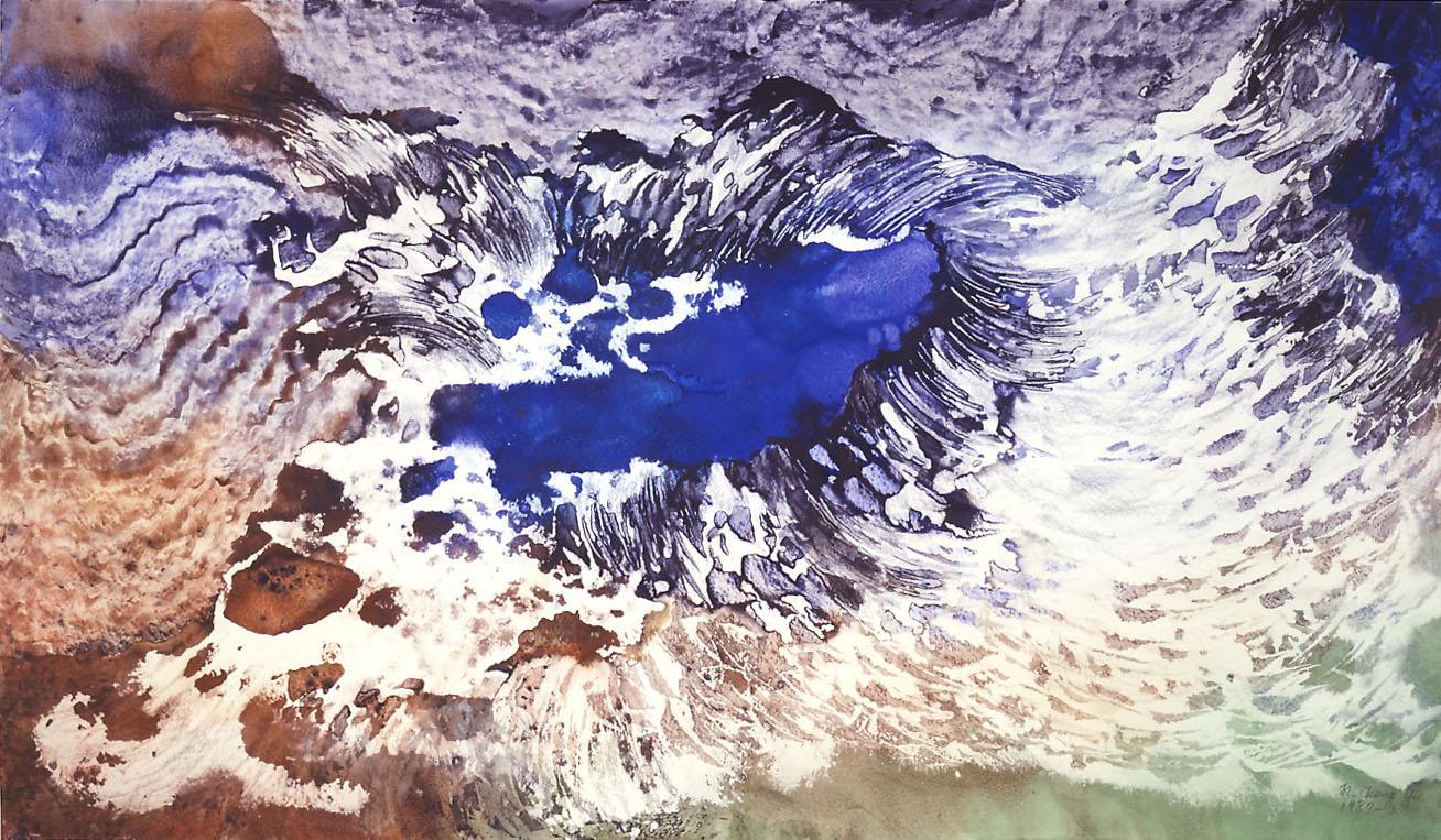 "Marlene Tseng Yu  Dragon Wave, 1987  Acrylic on paper  47"" x 72"""