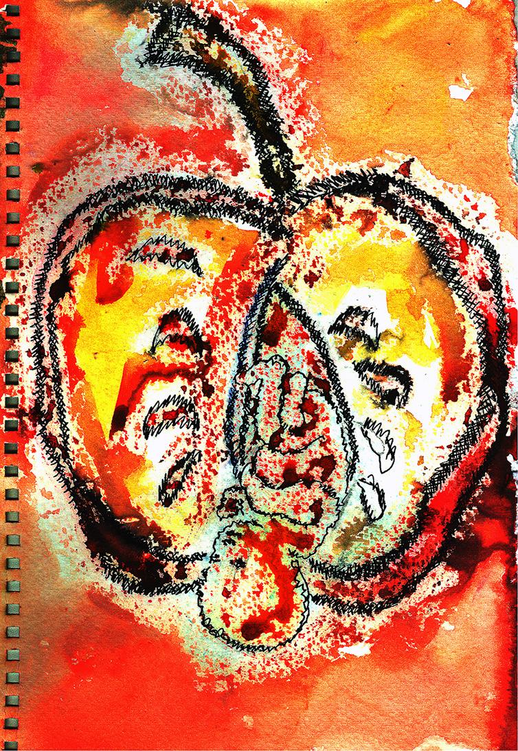 "Mumtaz Hussein  Adam's Rib, 2013  Watercolor and Gouache  3"" x 5"""
