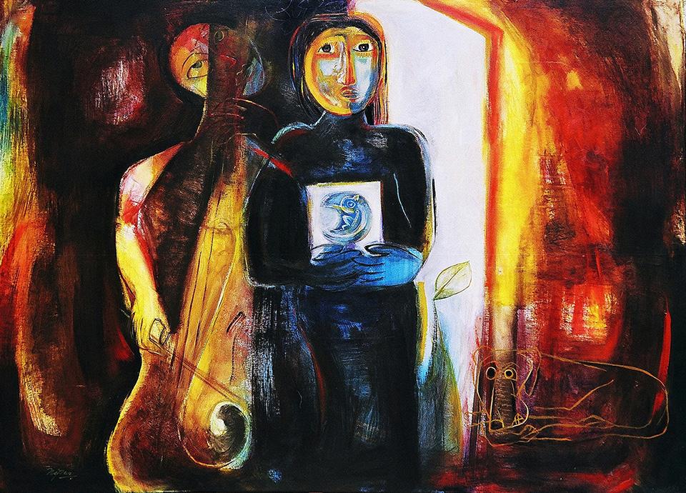 "Nipun Manda  Transition of Hope, 2013  Acrylic on Canvas  50"" x 38"""