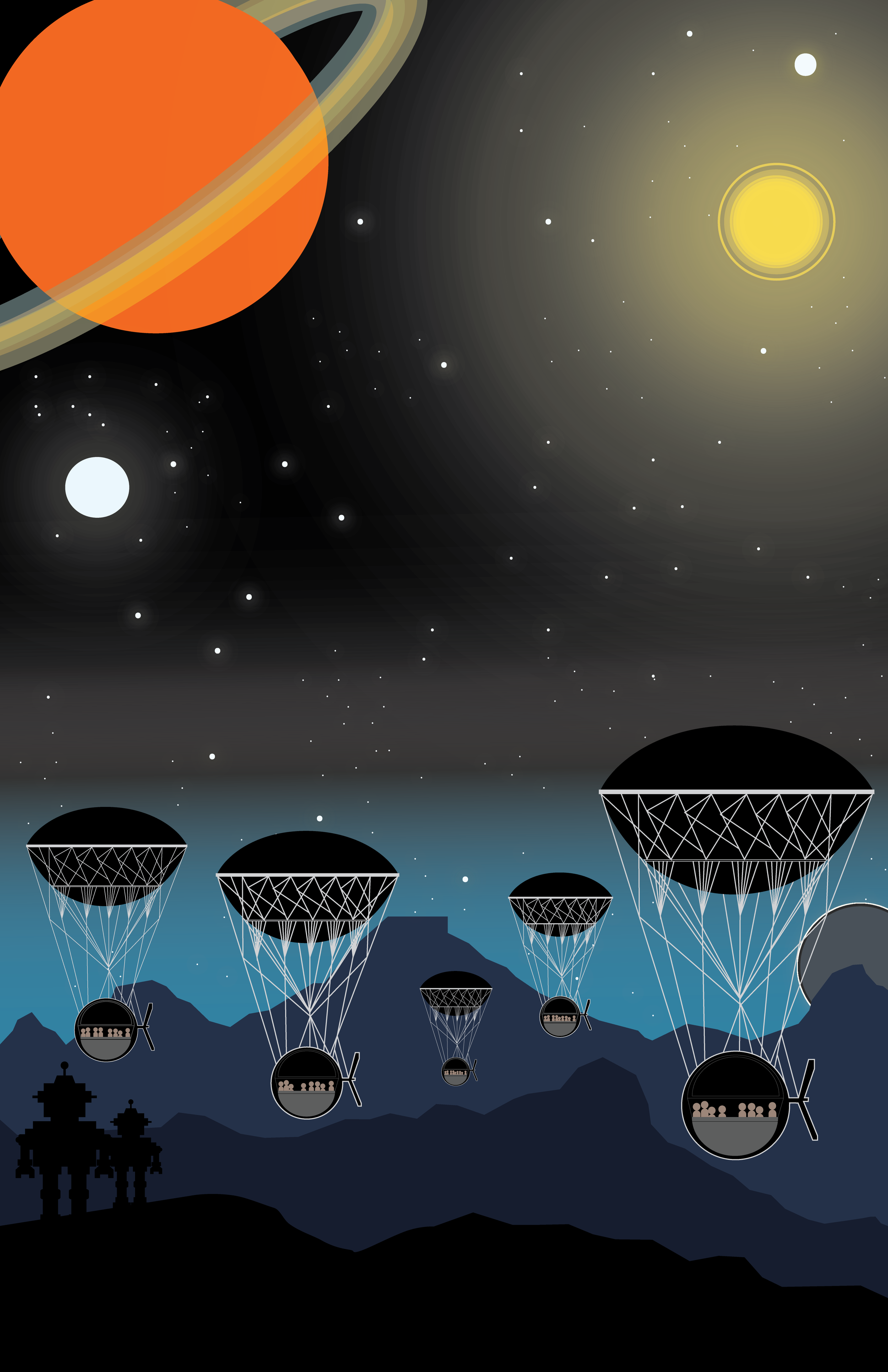 Space Travel - This depiction of futuristic space travel was my first work in the space series.
