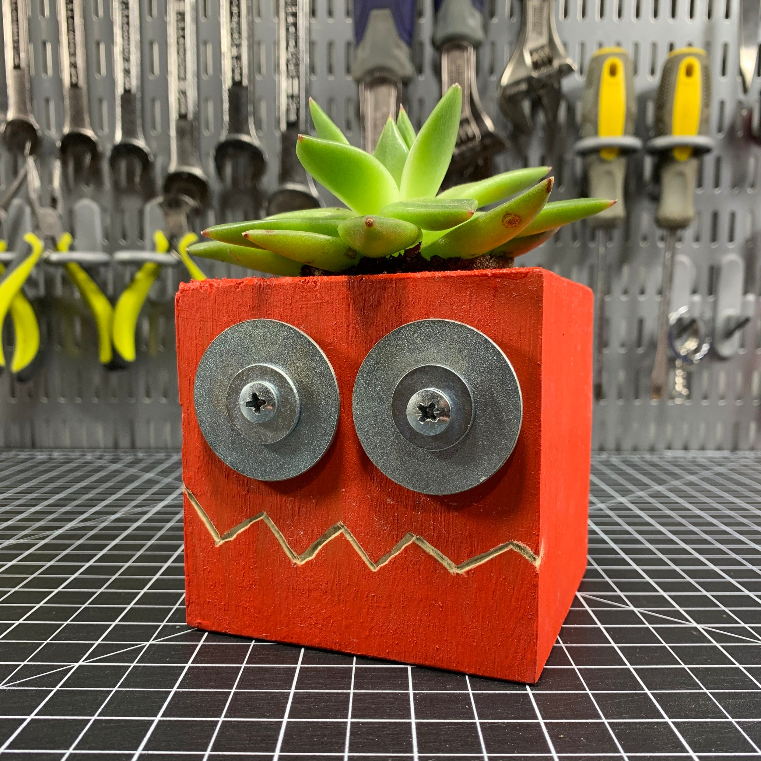 Recycled Robot Planters -