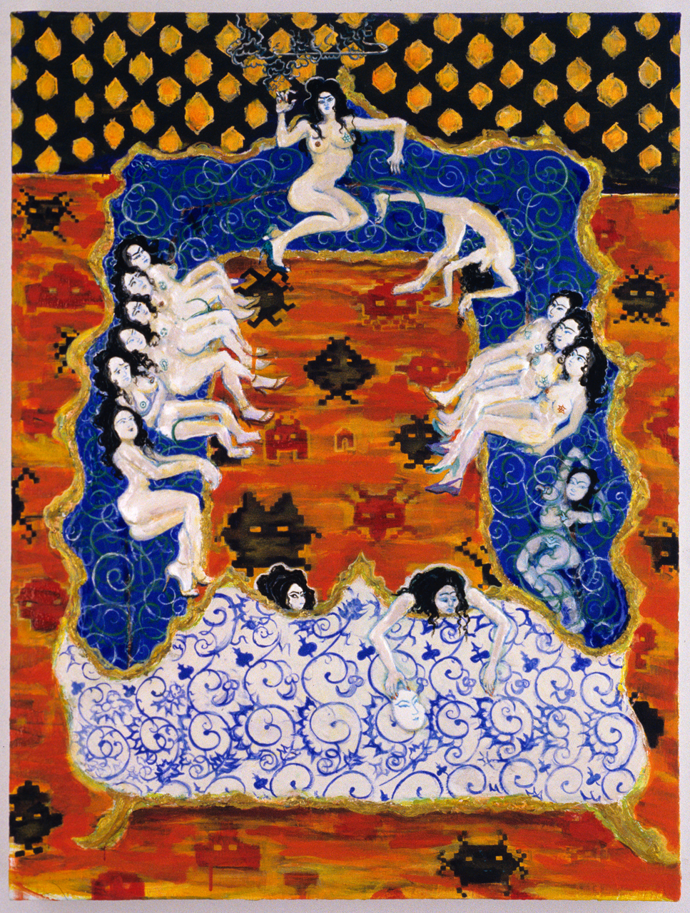 Hamam Harem Louis Quatorze Chaise, 2005, Gesso, acrylic and nail polish on panel, 32 x 24 in