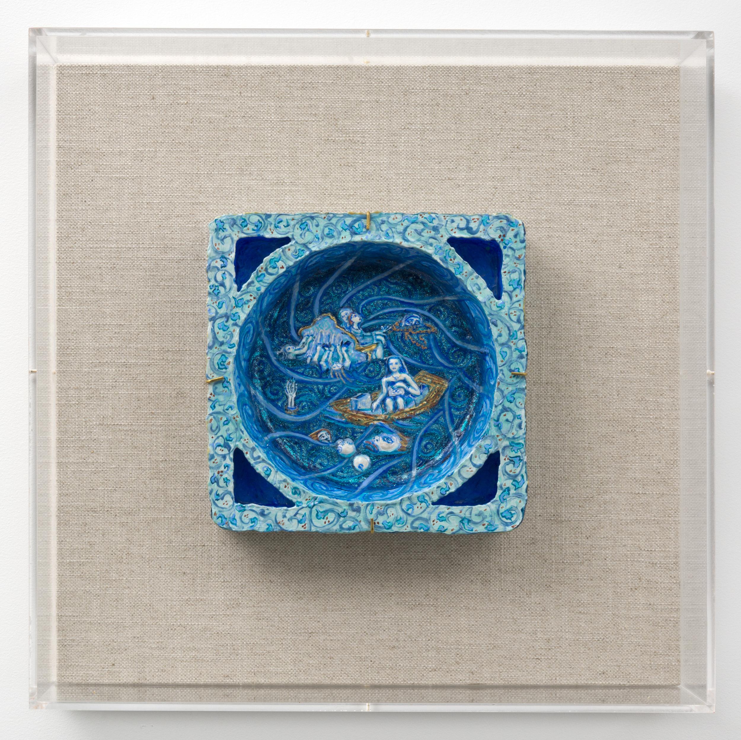 Ahkami_Negar.Fragment_1.gesso_acrylic_and_glitter_on_found_styrofoam.9.5x9.5x2.25%22(unframed).2012.Framed_Image.jpg
