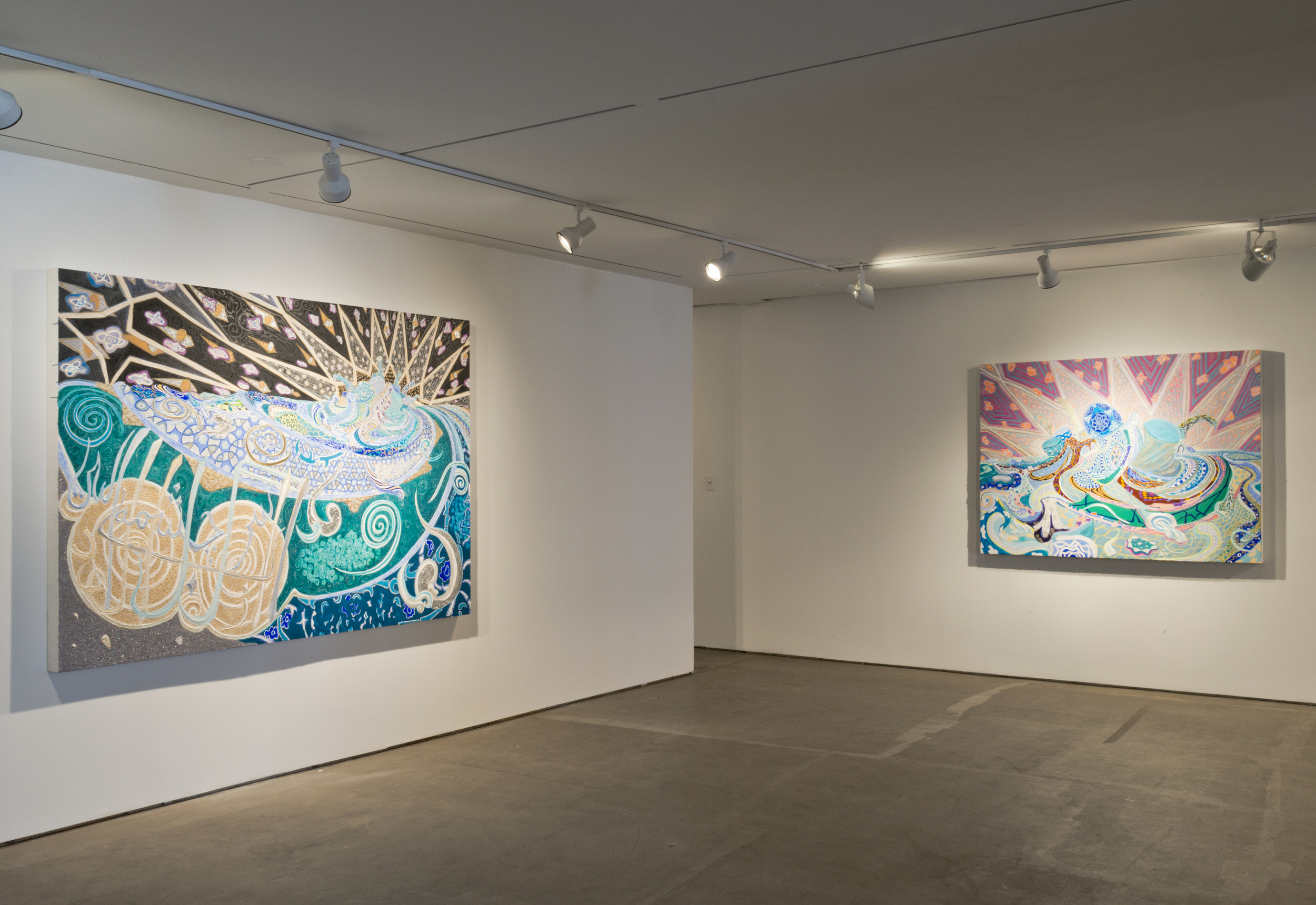 """Although Ahkami is moving away from her overtly political work of the last decade, in a few works in the exhibition, she revisits her iconography of melting Persianate cityscapes spreading cartoonishly towards the viewer. For Ahkami, this caricature of Iran's regime, and of fears of its nuclear threat, is a product of consumption: """"of media images that have distorted the view of Iran from a distance"""". Her recent returns to this theme are spectacles of pattern that shift between entrancing and cartoonish, with more fascination than angst. (Excerpt from Press Release)"""