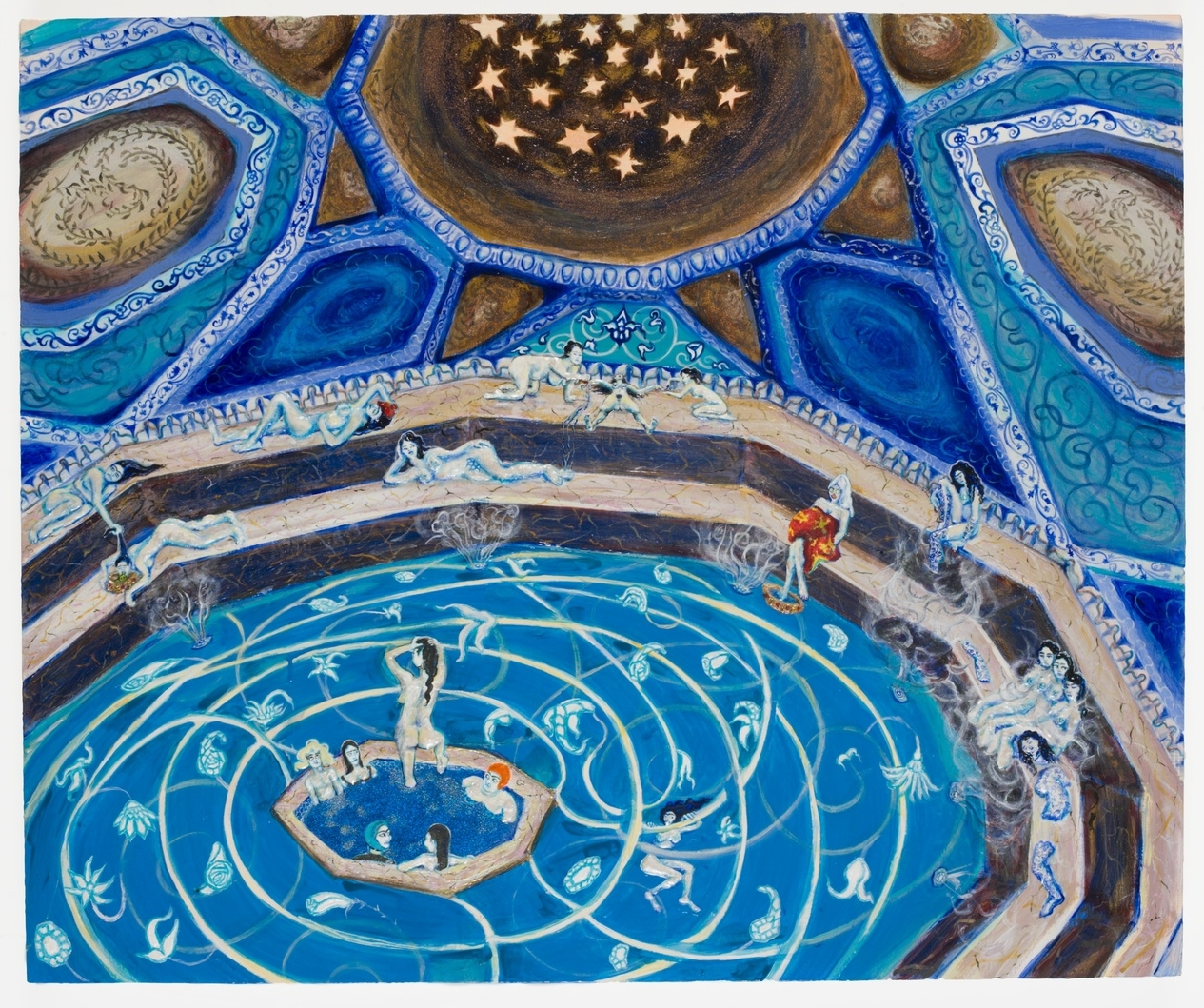 Egg and Dart Hamam, 2007, Gesso, acrylic, and glitter on panel,