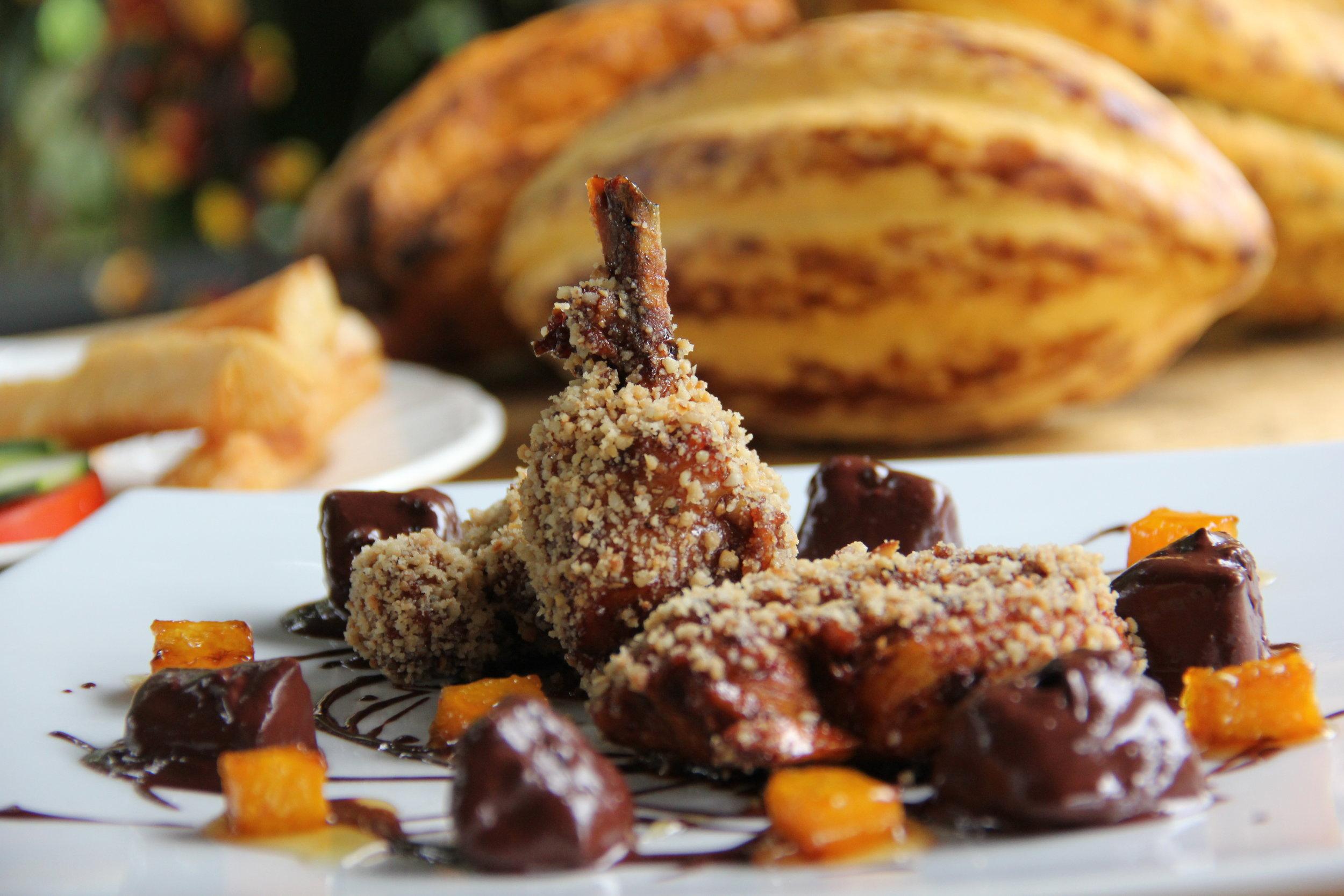 Macadamia chicken with yuca bon bons.
