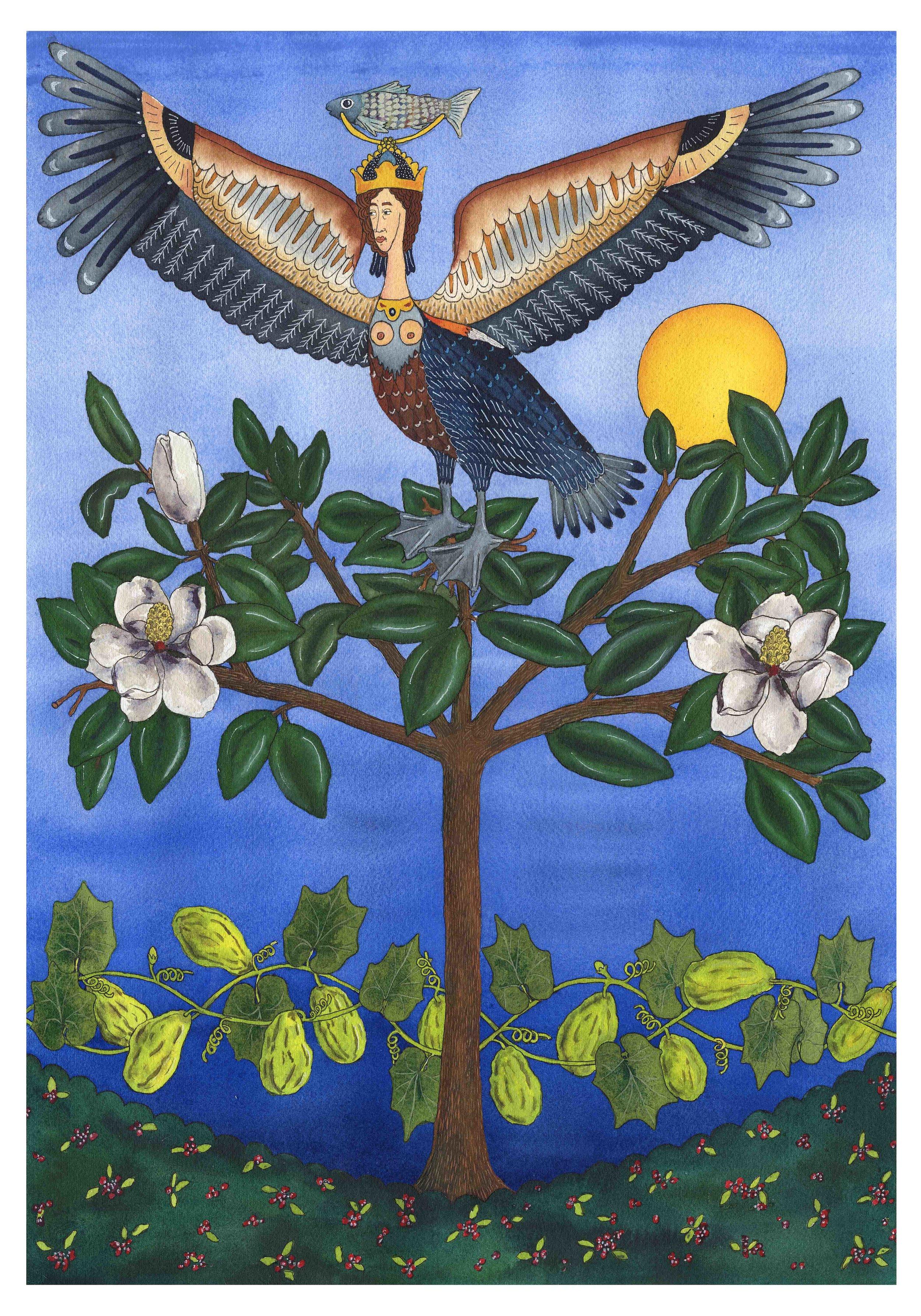 Louisiana Mythology Brown Pelican Alkonost Emma Fick Art