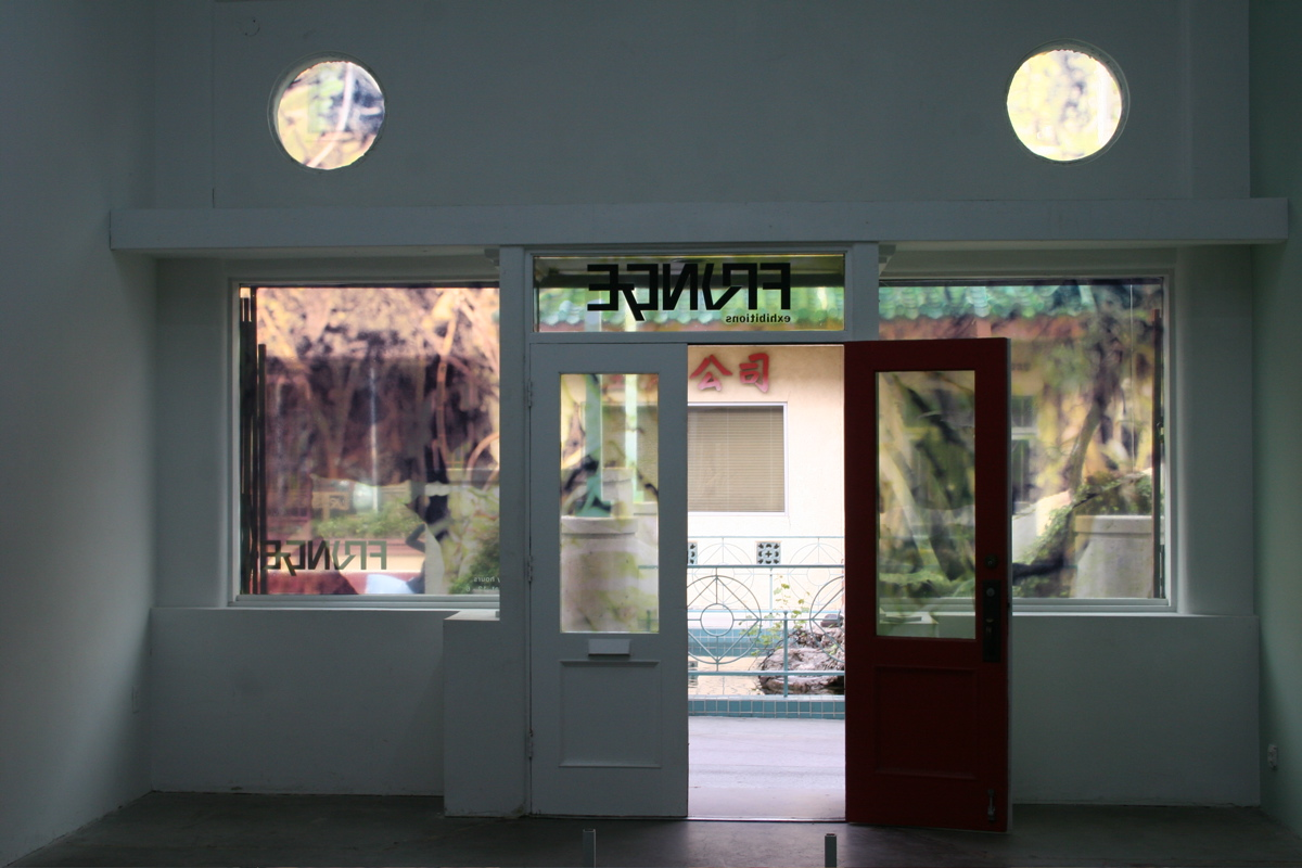 Cryptofloriography , window installation at Fringe Exhibitions (interior view), Chinatown, Los Angeles, 2007