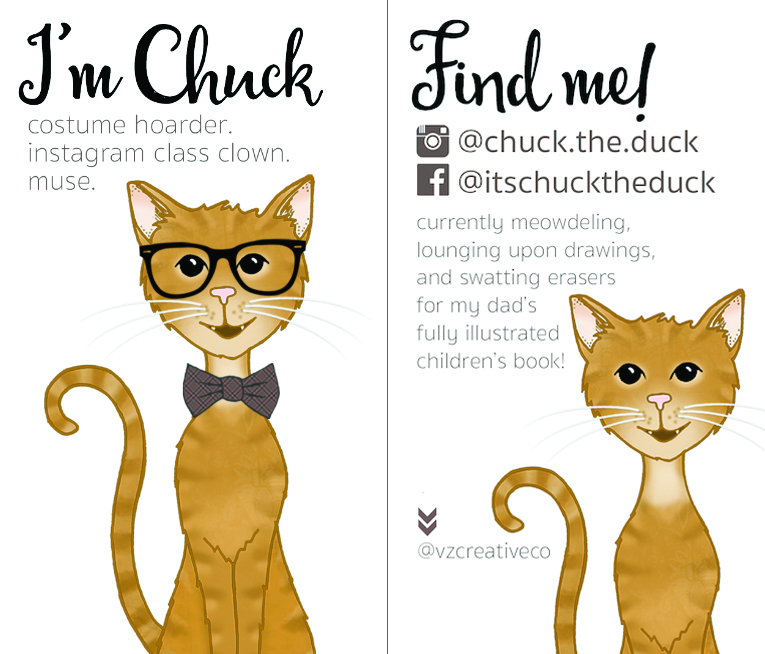 Illustrated business card for  @chuck.the.duck  on instagram