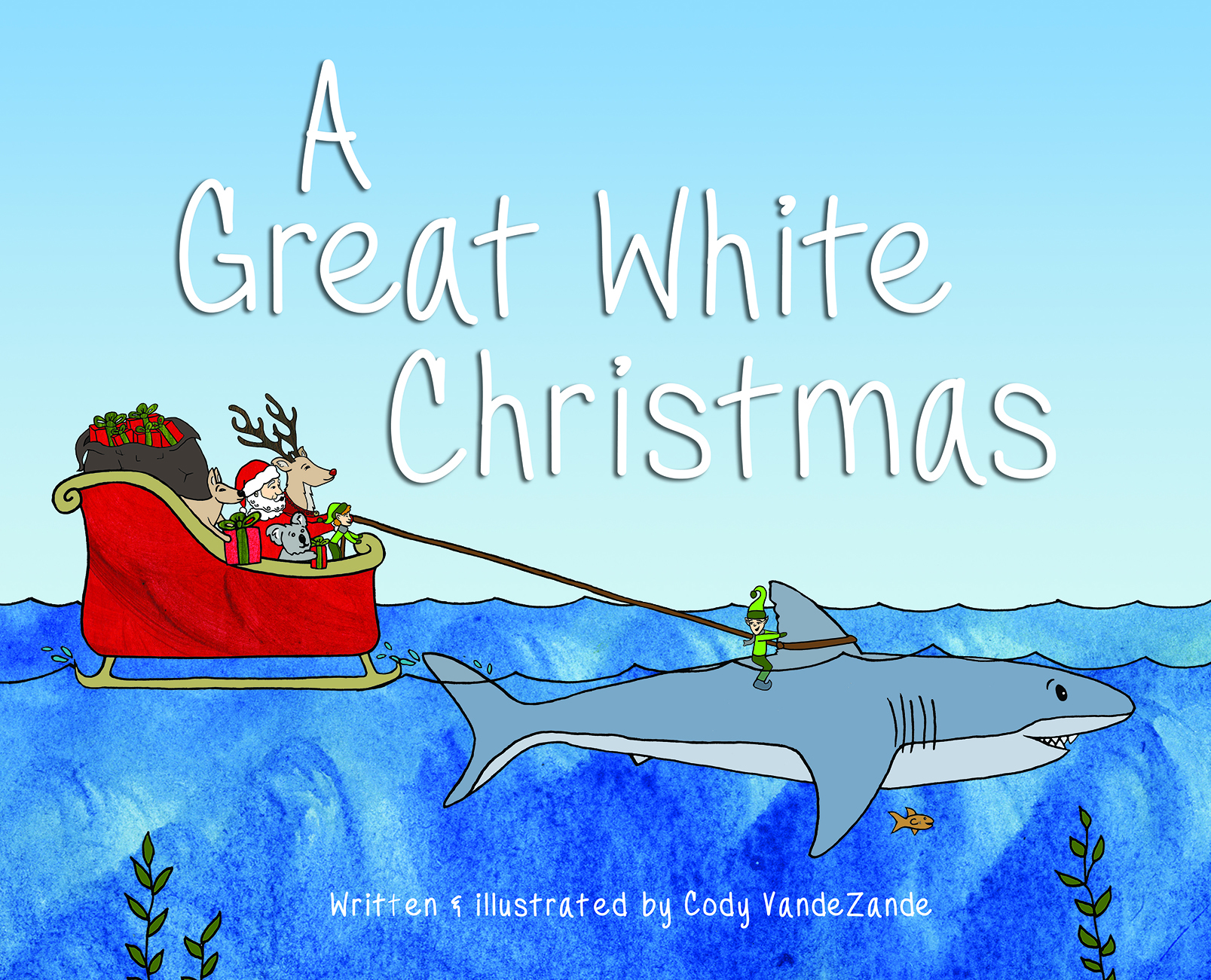 A Great White Christmas   Written and illustrated by Cody VandeZande  As Santa heads out to deliver gifts on Christmas Eve, he encounters trouble over Australia. Unexpected friends arrive to help save the day, and along the way Santa learns a valuable lesson. Join Santa, Oli, and the rest of the crew in this unique Christmas tale!   Reading level:  Grades 1-2   Enjoyment level:  Everyone will enjoy this book with colorful illustrations and unique story involving a great white shark and Santa!   Hardcover  38 pages   ISBN:  978-1-63177-433-1  $14.95