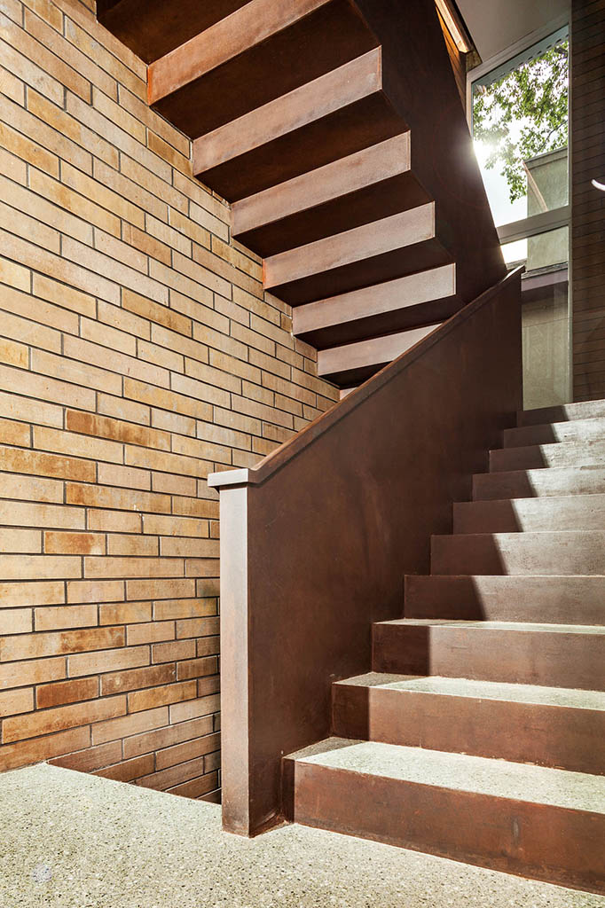 steel and terrazzo stair