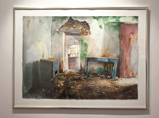"Håkan Lager: ""Abandoned House, Crete"". Water colour, 93 x 122 cm"