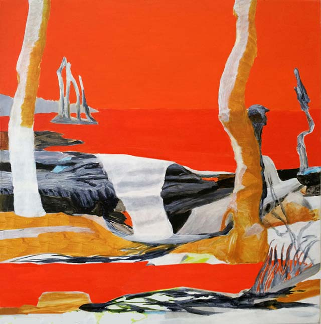 "Mia Vendel: ""Stammande"". Acrylic on canvas, 38 x 38 cm"