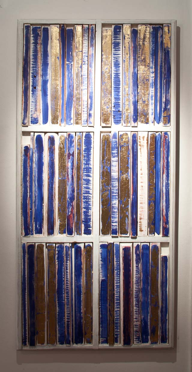 "Mikael Fare: ""Library"". Wood, 59 x 124 cm"