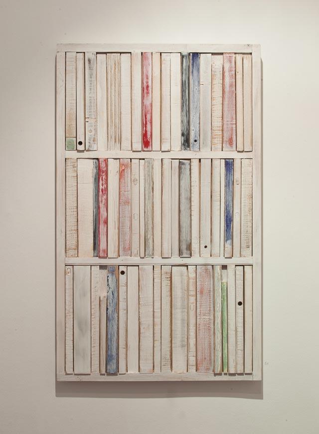 "Mikael Fare: ""Library"". Wood, 54 x 89 cm"