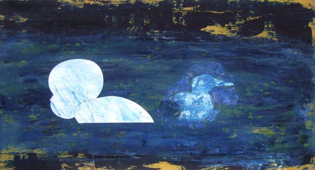 """helene randin: """"No Title 4"""". Oil on board, 64 x 120 cm"""