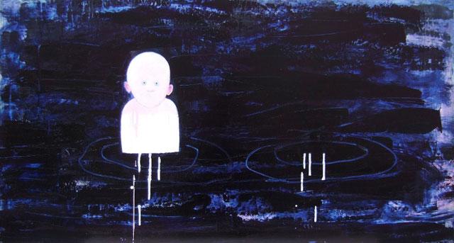 """helene randin: """"No Title 5"""". Oil on board, 64 x 120 cm"""