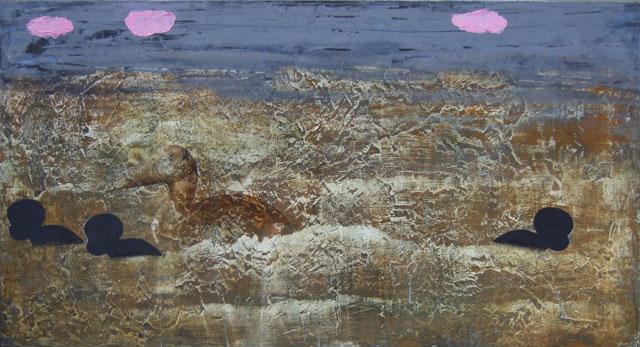 """helene randin: """"No Title"""". Oil on board, 64 x 120 cm"""