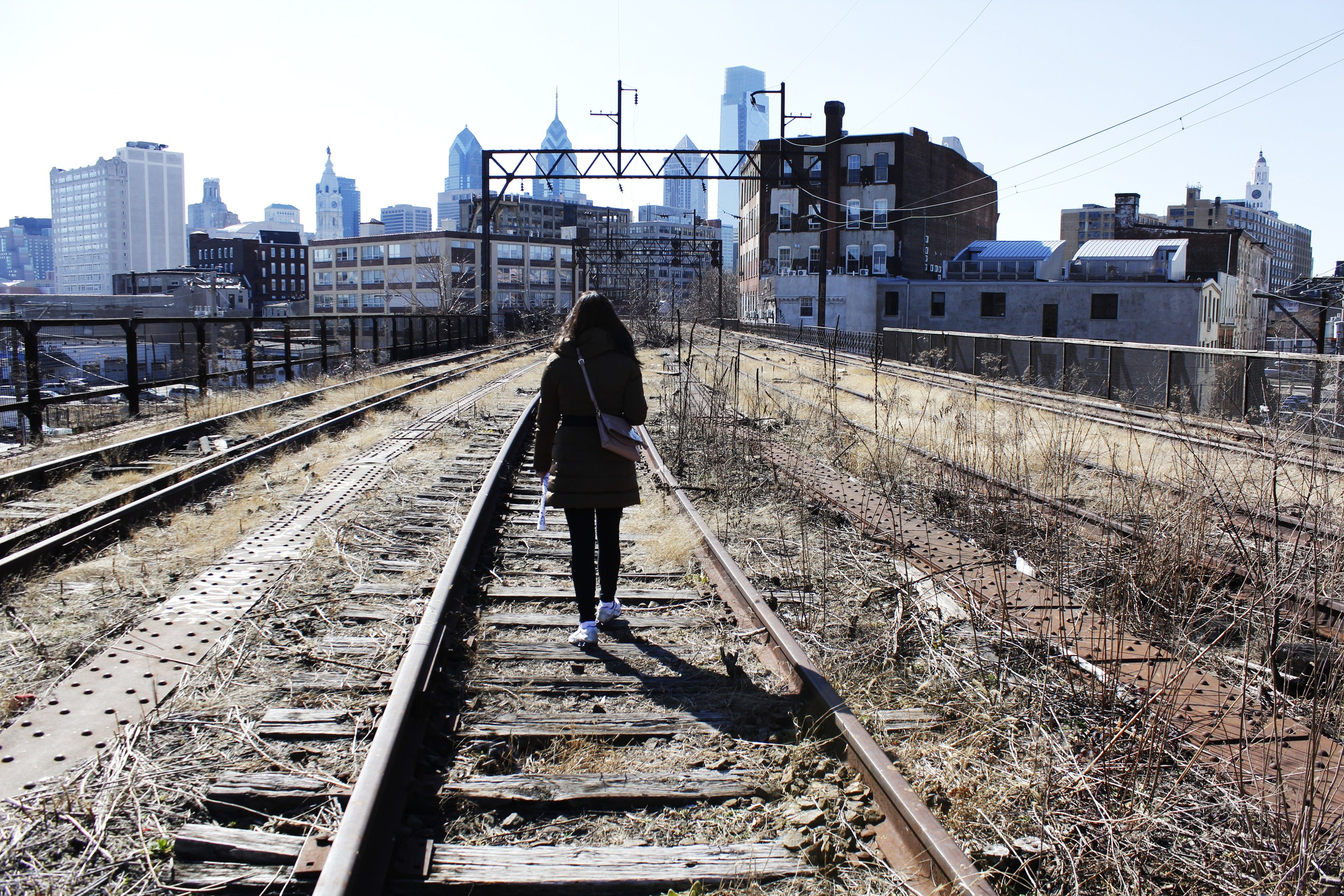 The former Philadelphia and Reading Railroad with incredible views of downtown Philadelphia  photo by Susan Kolber