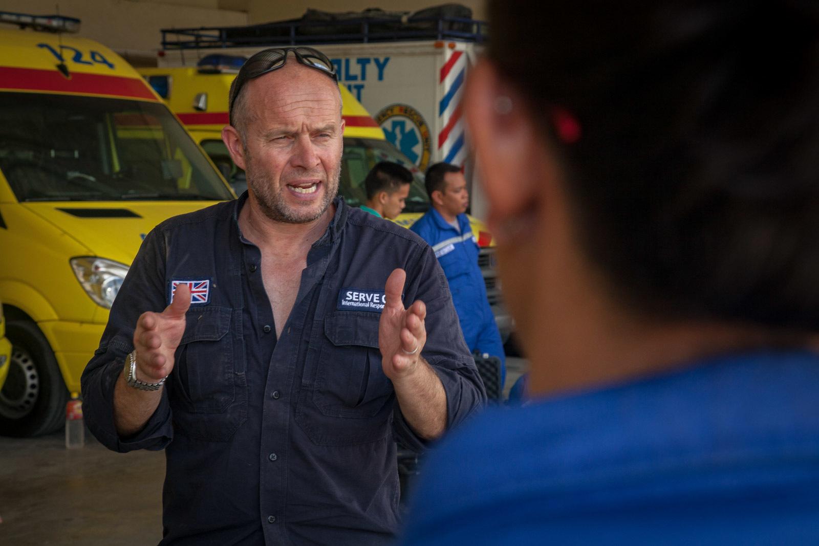 IRT member Nick Borritt instructs local emergency responders.