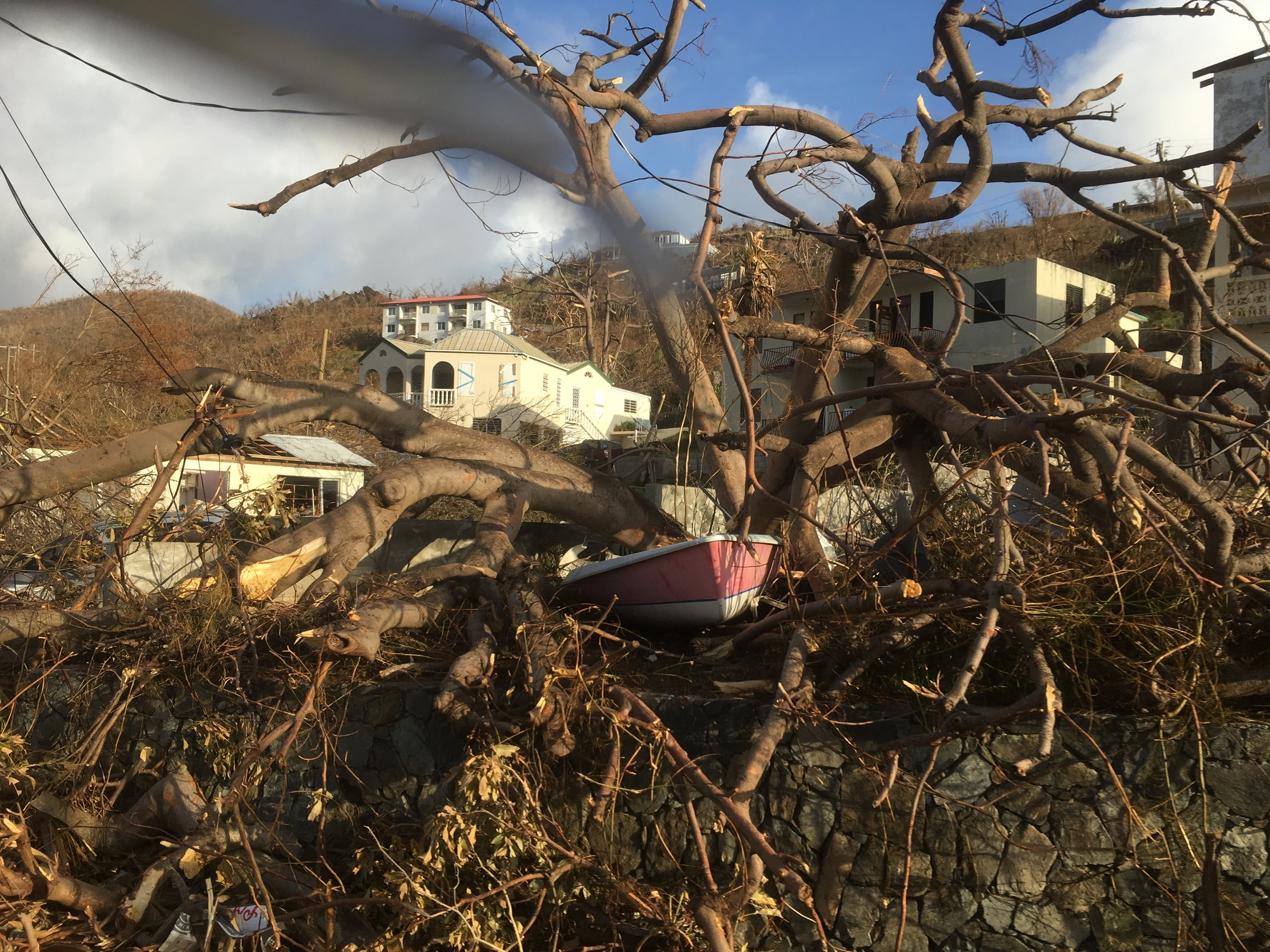 Hurricane damage on Tortola was already extensive before Hurricane Maria approached.