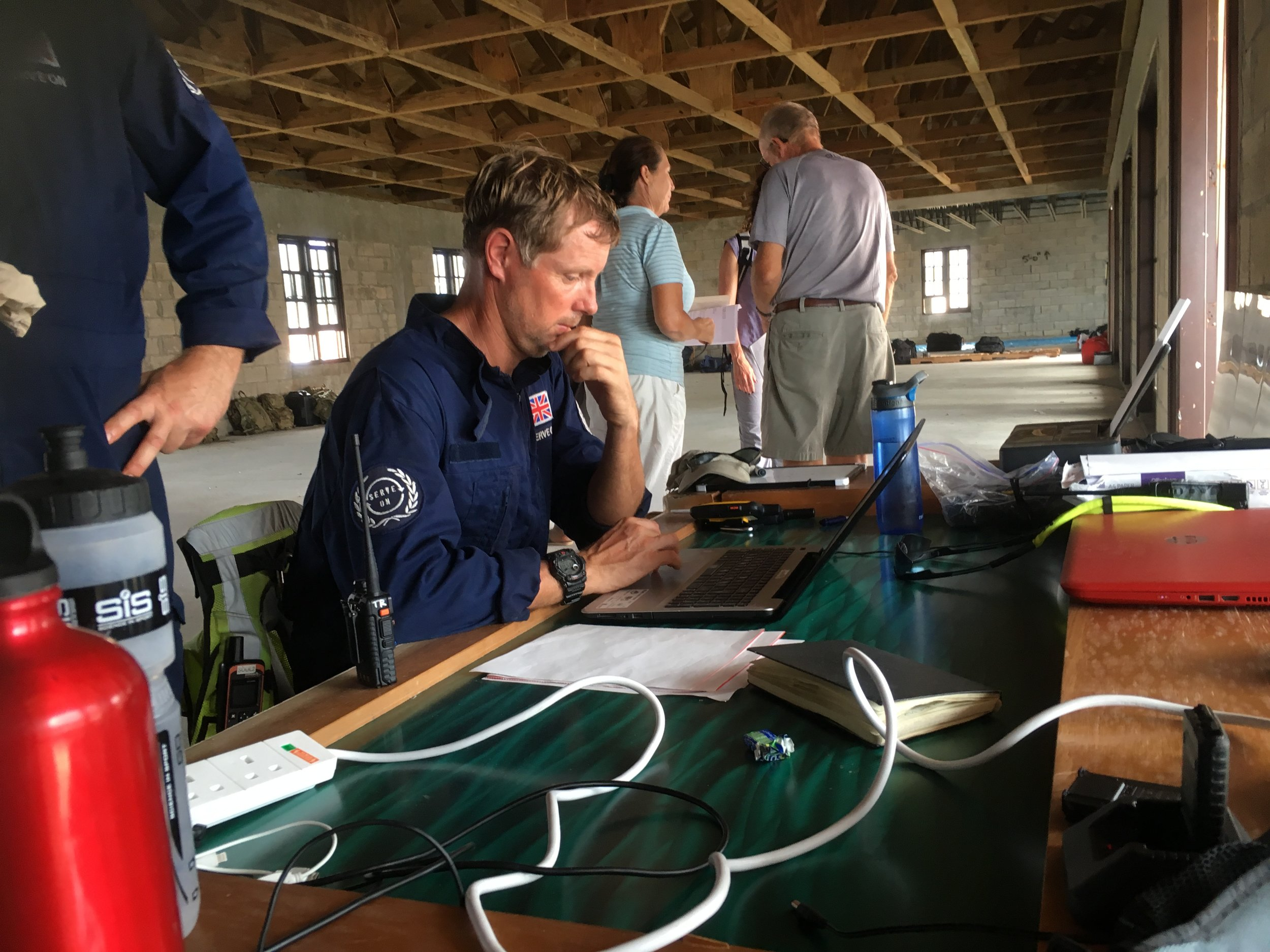 Communications ace Craig Elsdon at the team's hub on Virgin Gorda before they took shelter against Hurricane Maria.