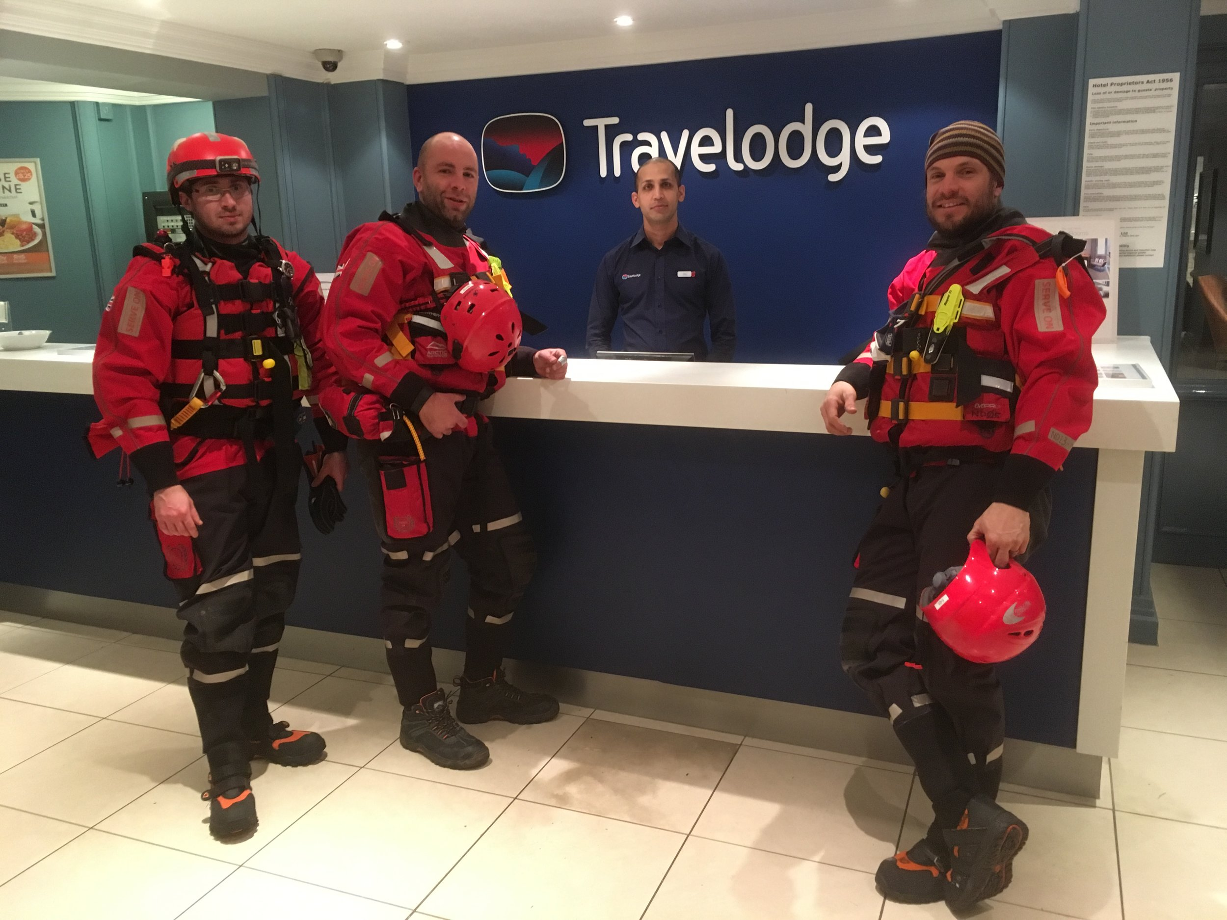 Some of the Serve On team say thank-you for the help of the staff at Travelodge Bath Waterside.