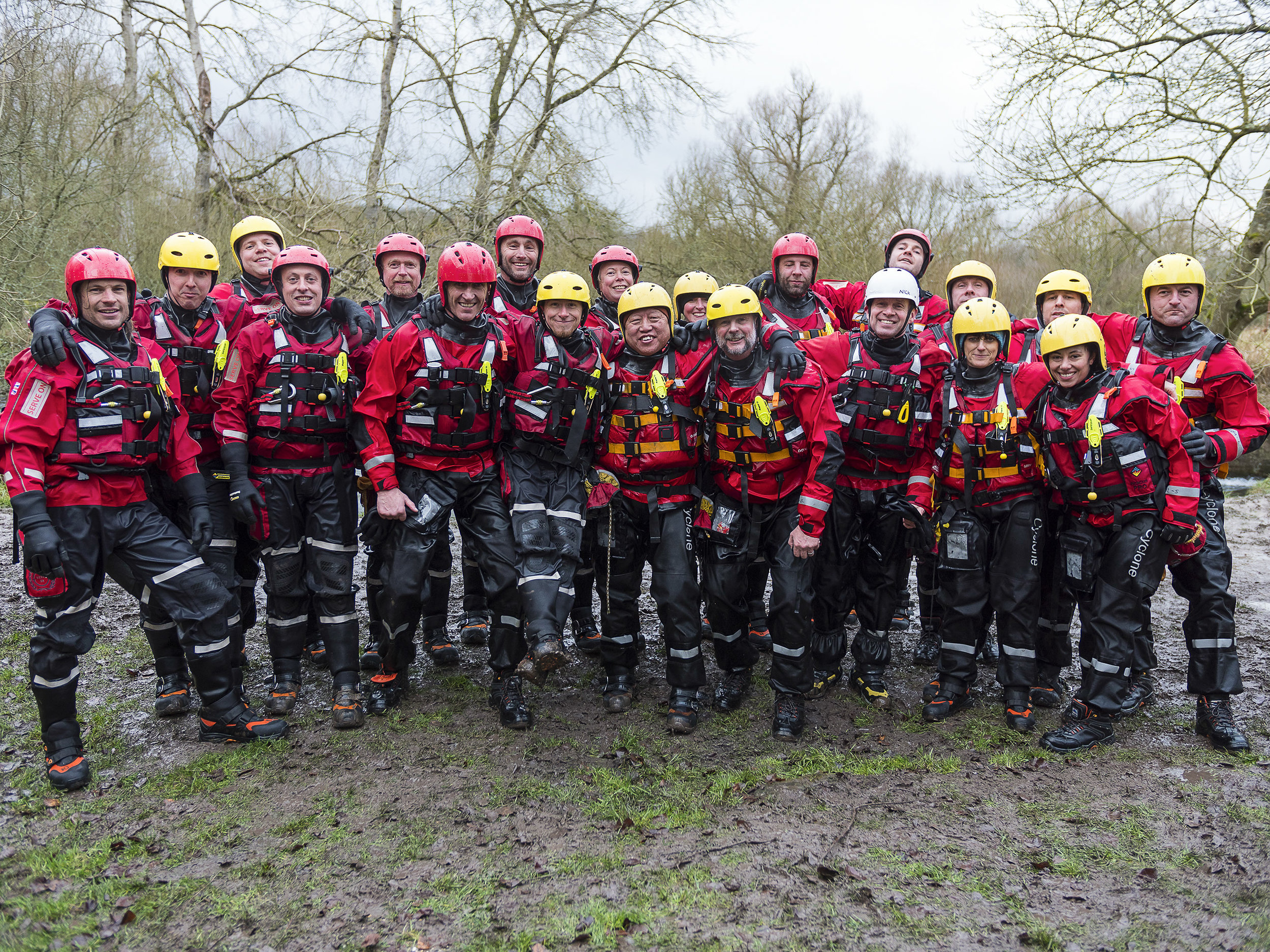 Dionne (bottom right) with other Serve On International Response Team recruits and operational members during swift water awareness training.