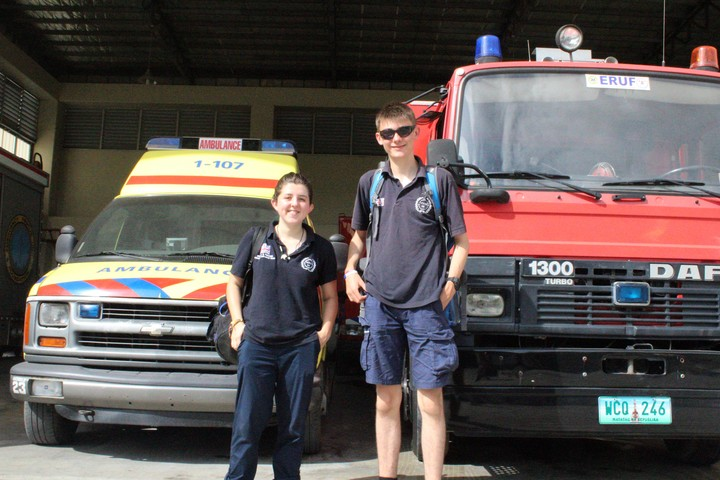 Jazz and Ethan during a break from helping train first responders in Cebu, Philippines.