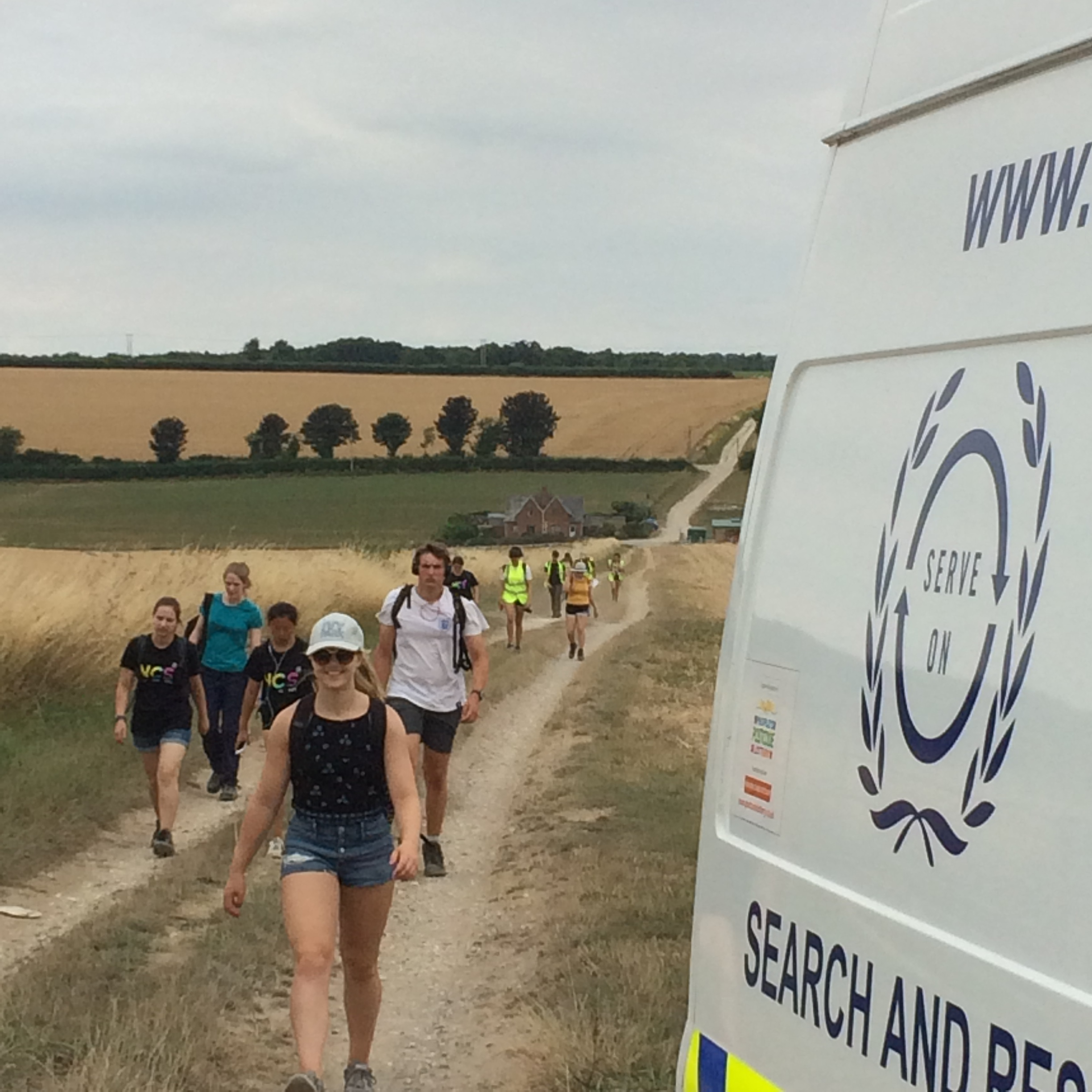 The Team 7 NCS youngsters walking the 10 miles from Stonehenge to Salisbury to raise money for Headlight,with transport and safety support from Serve On volunteers.