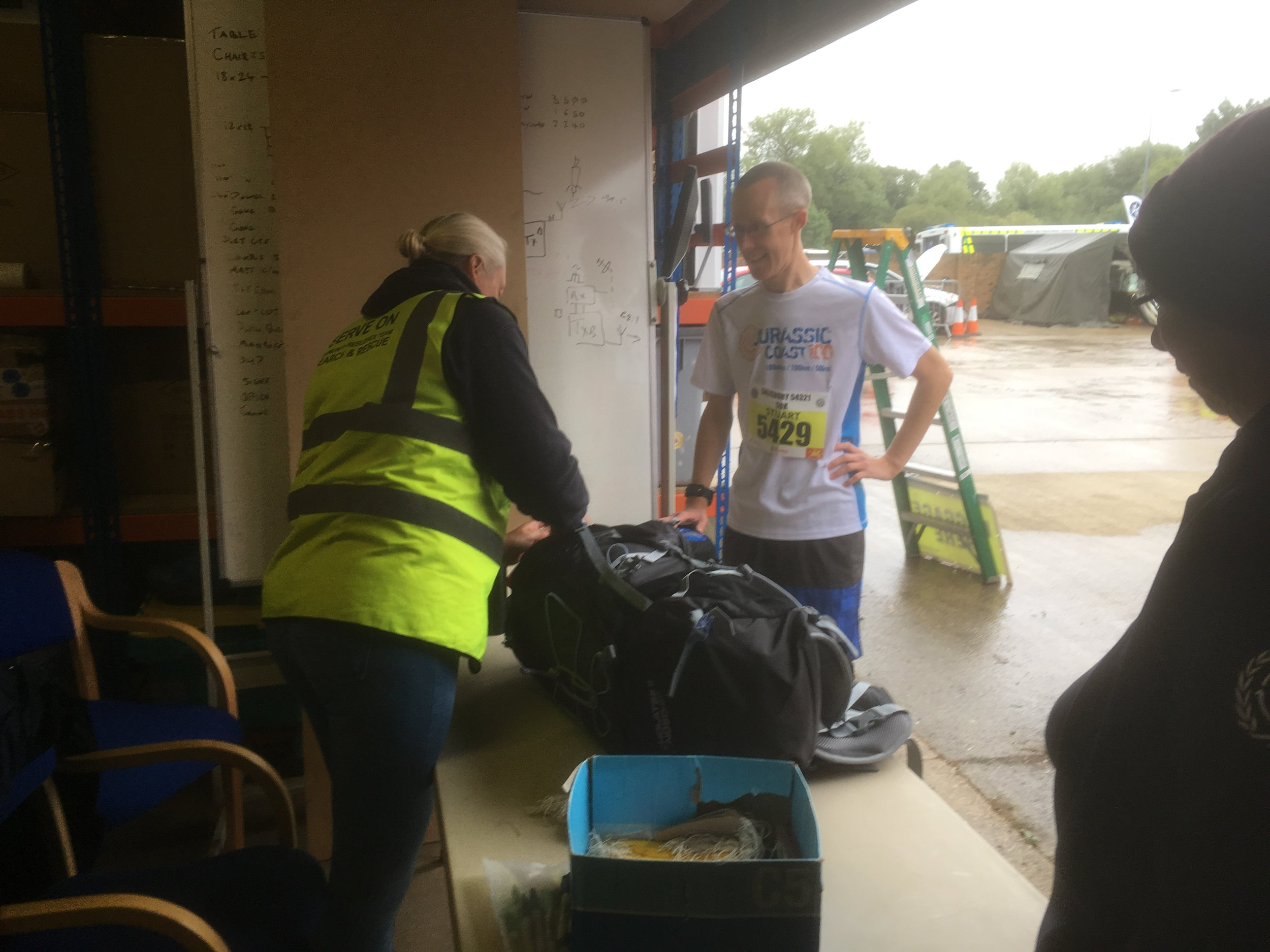 Becky and Wendy providing the baggage storage for runners taking part in the Salisbury 5-4-3-2-1 event.