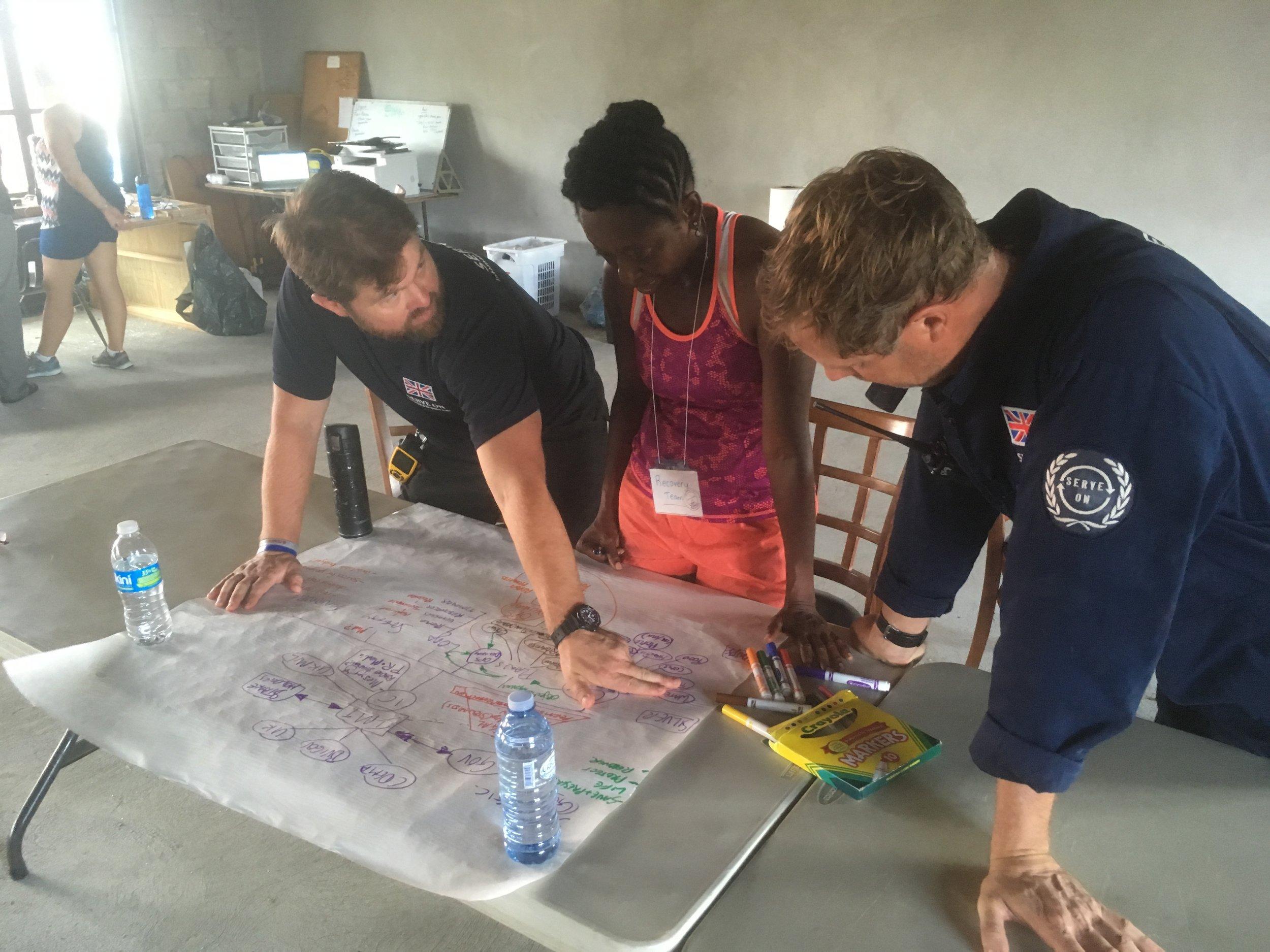 Serve On's International Response Team volunteers helping the local community on Virgin Gorda in the wake of Hurricane Irma in September 2017