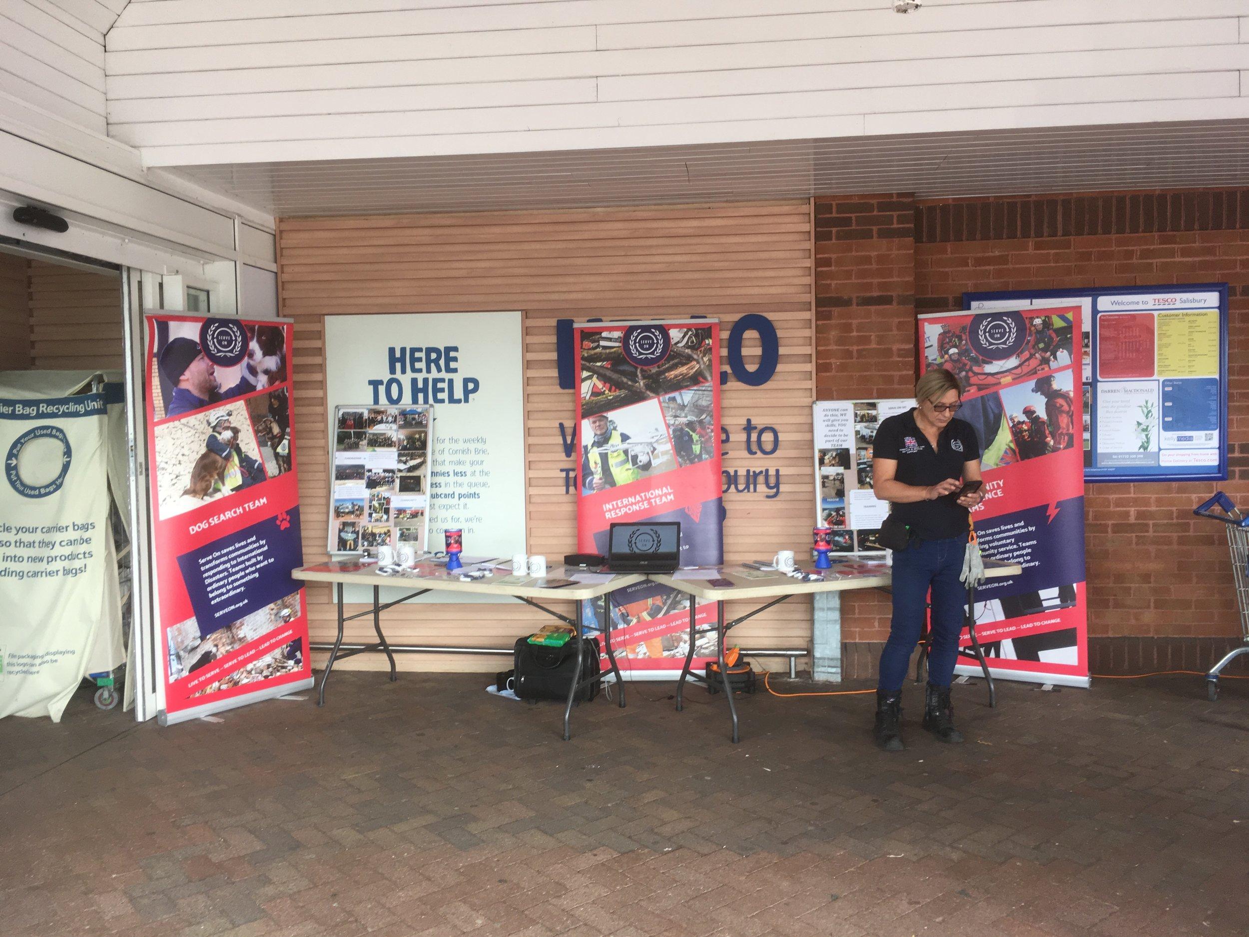 The Serve On stand outside the @Tesco store, on Southampton Road, Salisbury.
