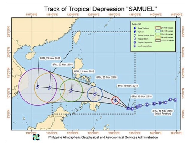 The predicted course of storm 'Samuel' which coincided with the arrival of the Serve On dog team volunteers in Cebu, Philippines.