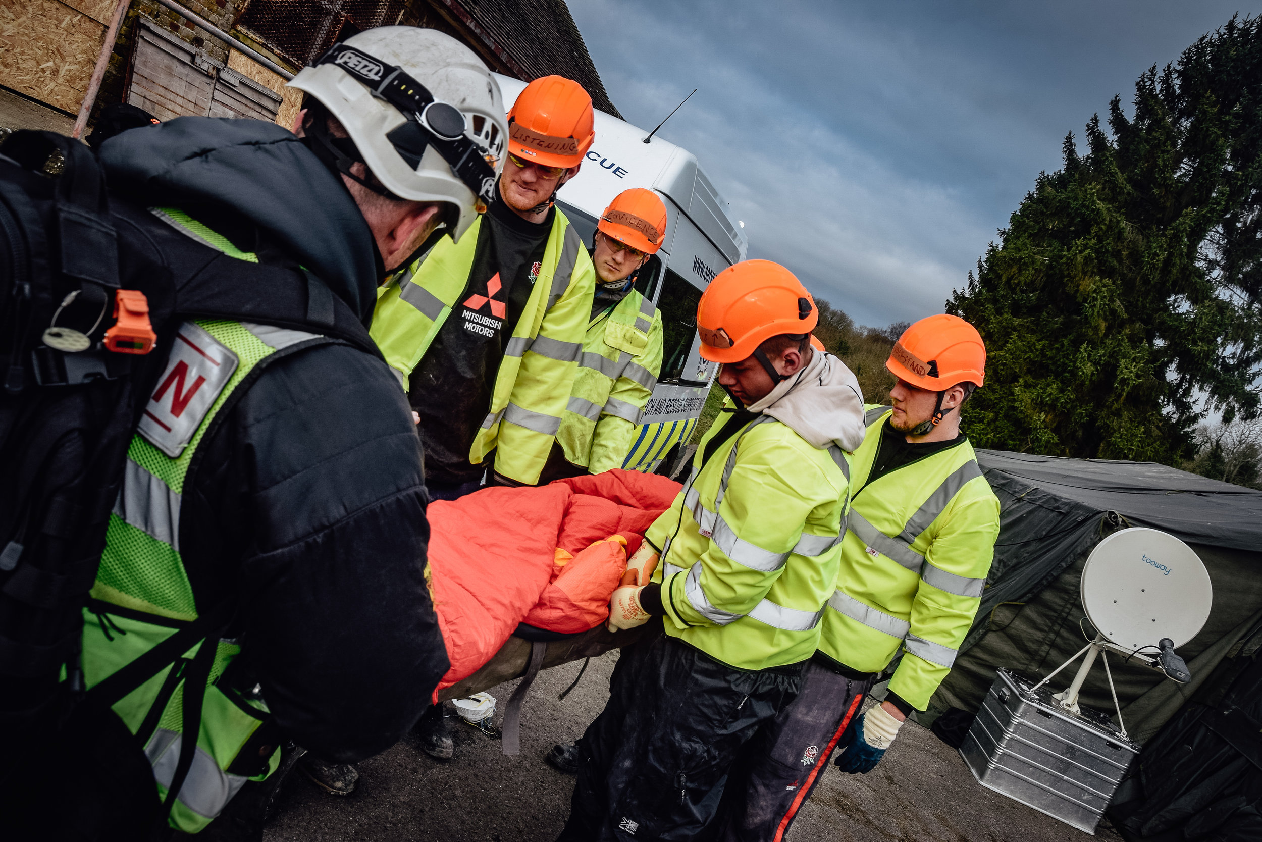 England U20 stars in a disaster rescue scenario with humanitarian charity volunteers from Serve On.