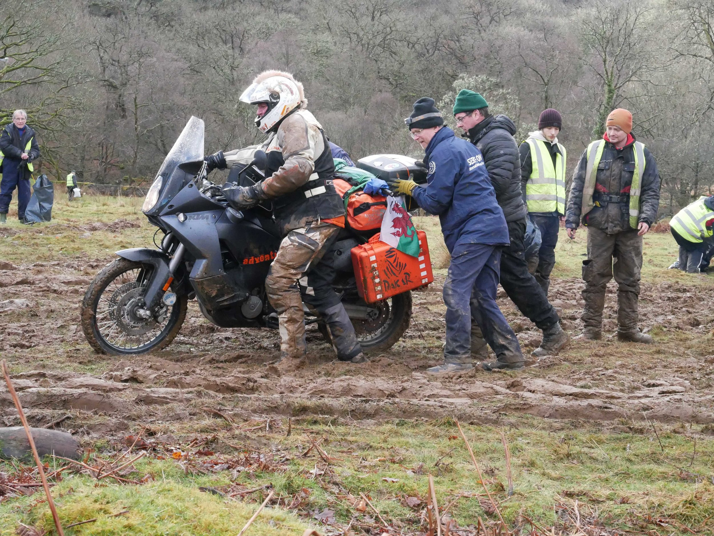Serve on volunteers from the International Response Team, Community Resilience Team and Dog Team braved Storm Erik to provide safety cover at the famous Dragon Rally in North Wales - and to help a few bikes through the mud.
