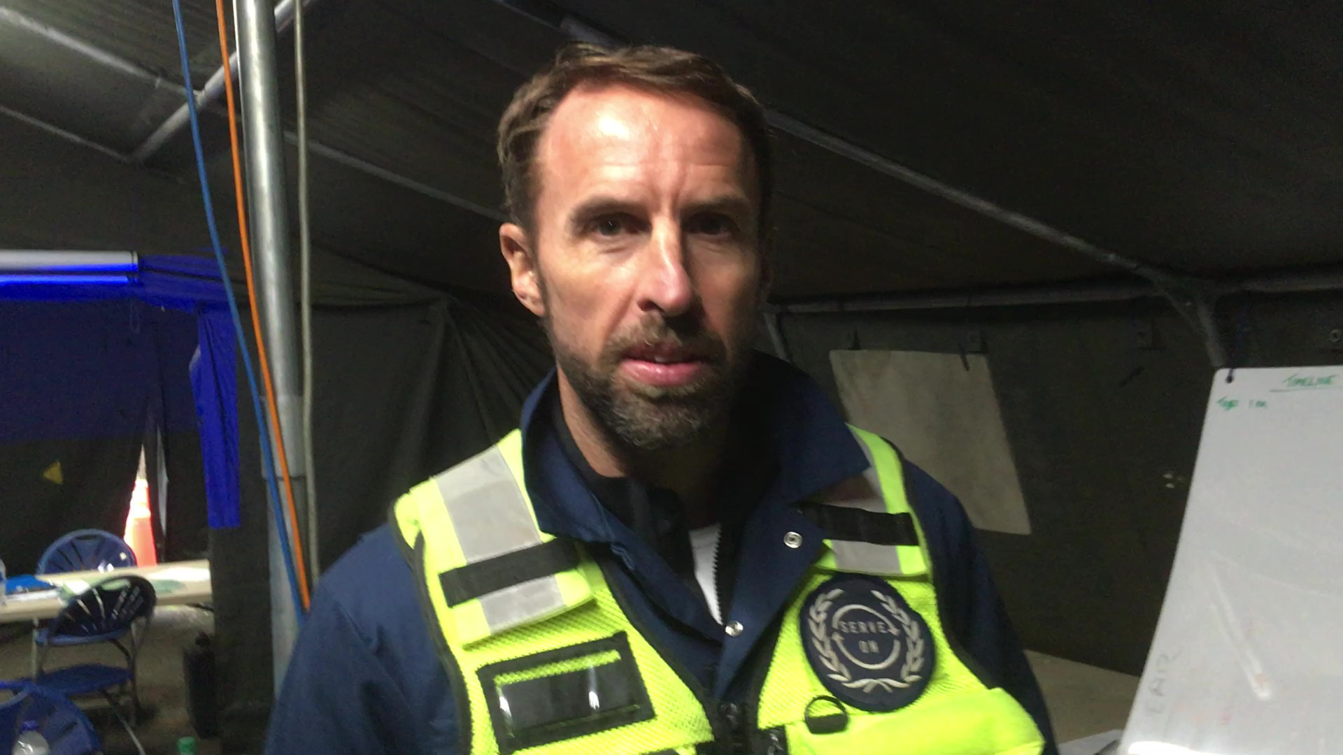 England football head coach Gareth Southgate in Serve On 'waistcoat' as he and other elite UK coaches were put through disaster scenarios by Serve On volunteers. Photo by Martin Phillips, Serve On