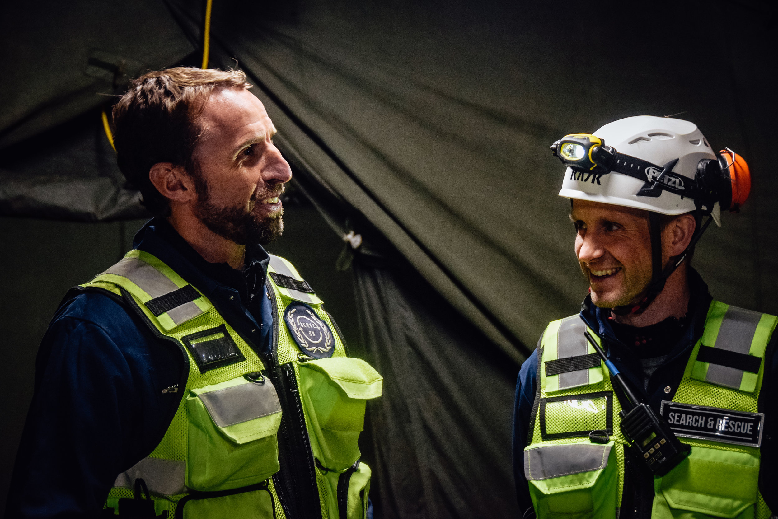 England Football head coach Gareth Southgate and England Rugby Sevens head coach Simon Amor during a disaster scenario experience with Serve On humanitarian response charity. Photo by Matt Evans