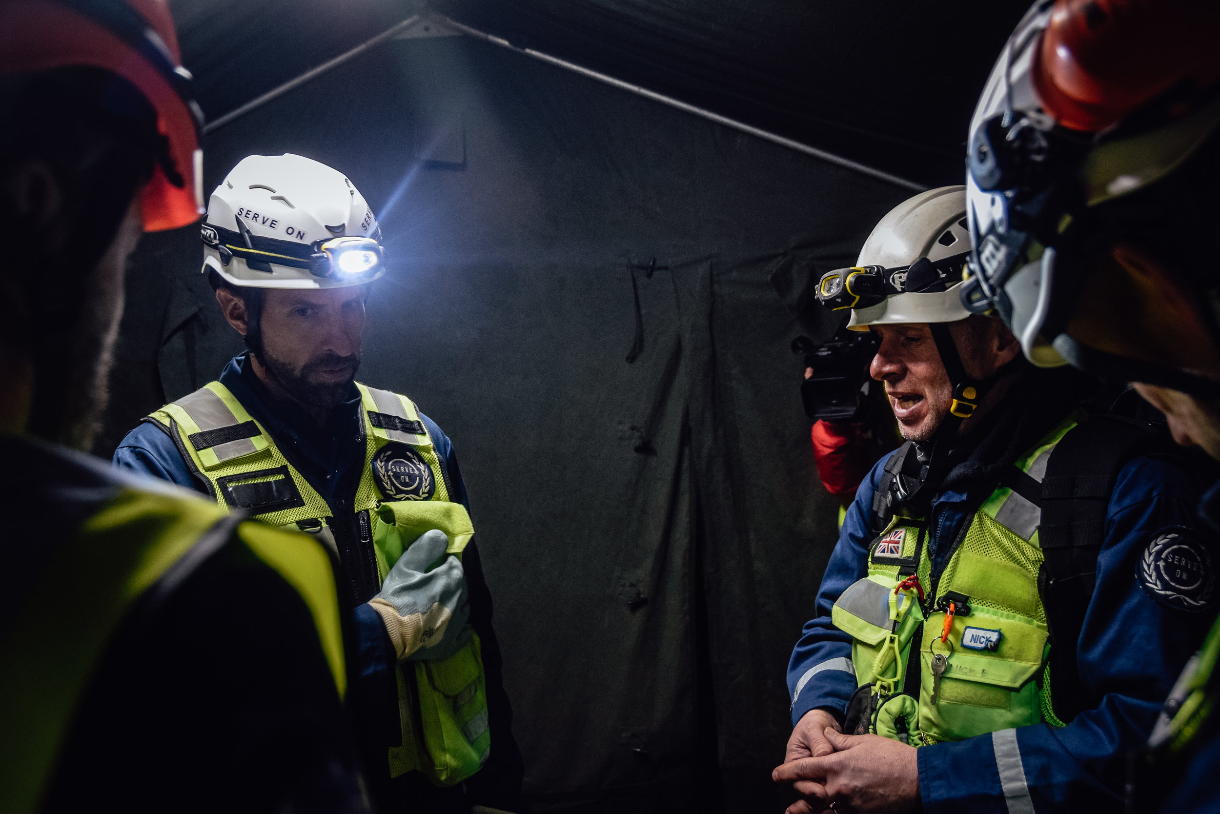 England football head coach Gareth Southgate and other elite trainers being briefed by Serve On International Response Team volunteer Nick Borritt during disaster experience training with the Serve On humanitarian response charity. Photo by Matt Evans
