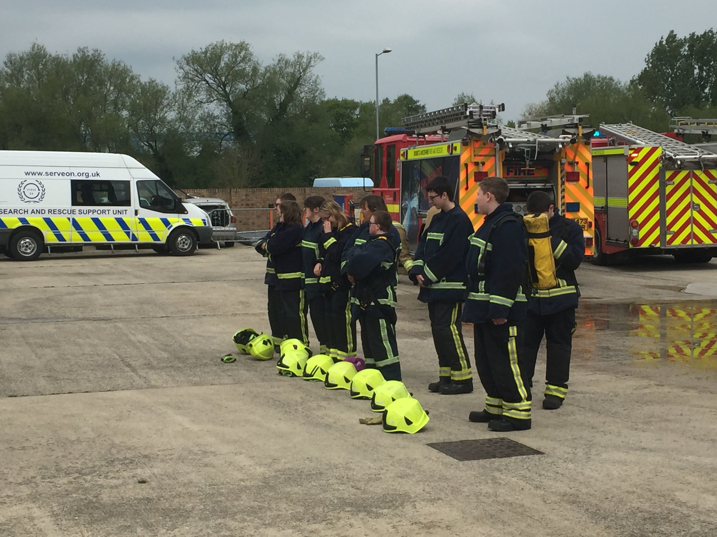 Youngsters from Exeter House School, Salisbury, passing out at the end of their three -day DWFRS Salamander course