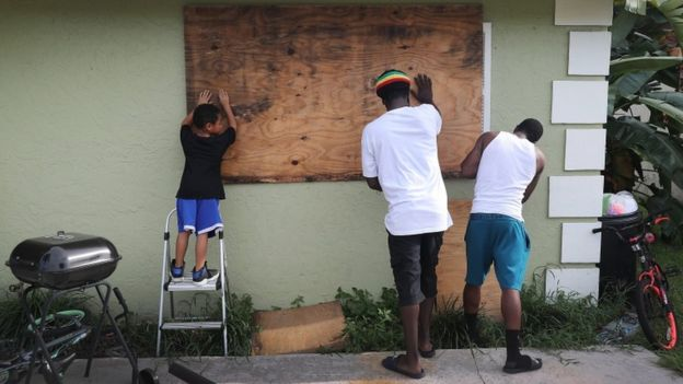 Hurricane Dorian has hit the Bahamas with record-breaking winds causing extensive damage.